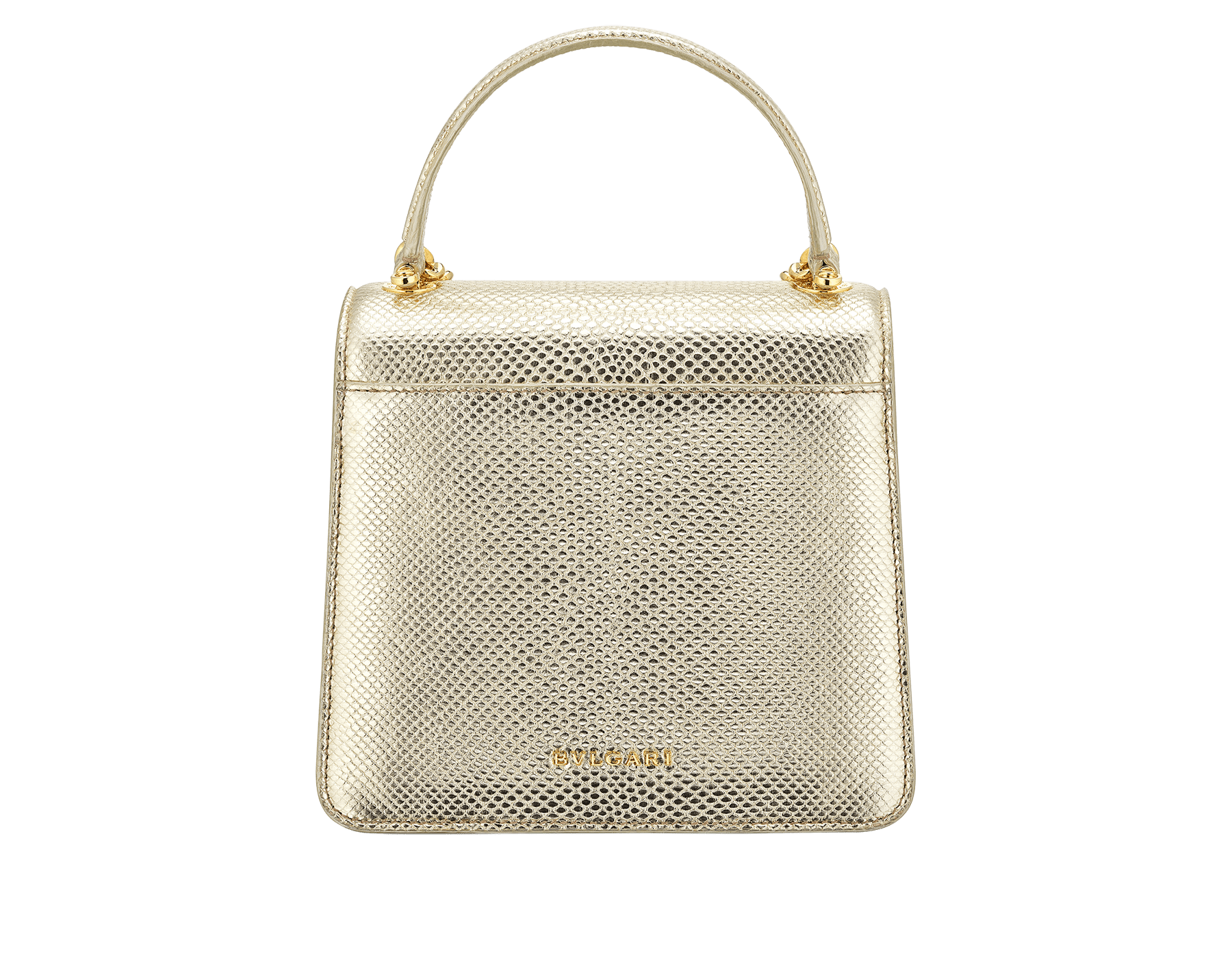 """Serpenti Forever"" small maxi chain top handle bag in peach nappa leather, with Lavander Amethyst lilac nappa leather internal lining. New Serpenti head closure in gold plated brass, finished with small pink mother-of-pearl scales in the middle and red enamel eyes. 1133-MCN image 3"