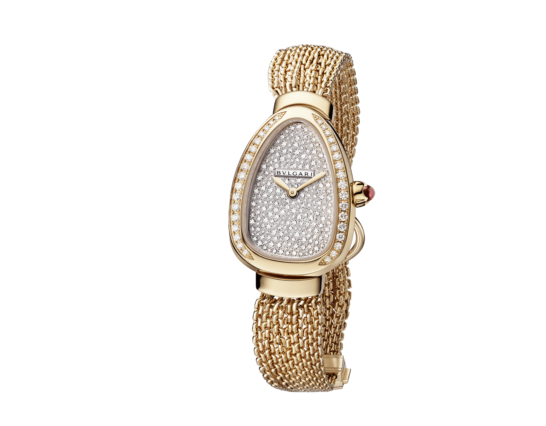 Serpenti watch with 18 kt rose gold case set with brilliant-cut diamonds, snow pavé dial and interchangeable single spiral chain bracelet in 18 kt rose gold 103063 image 2