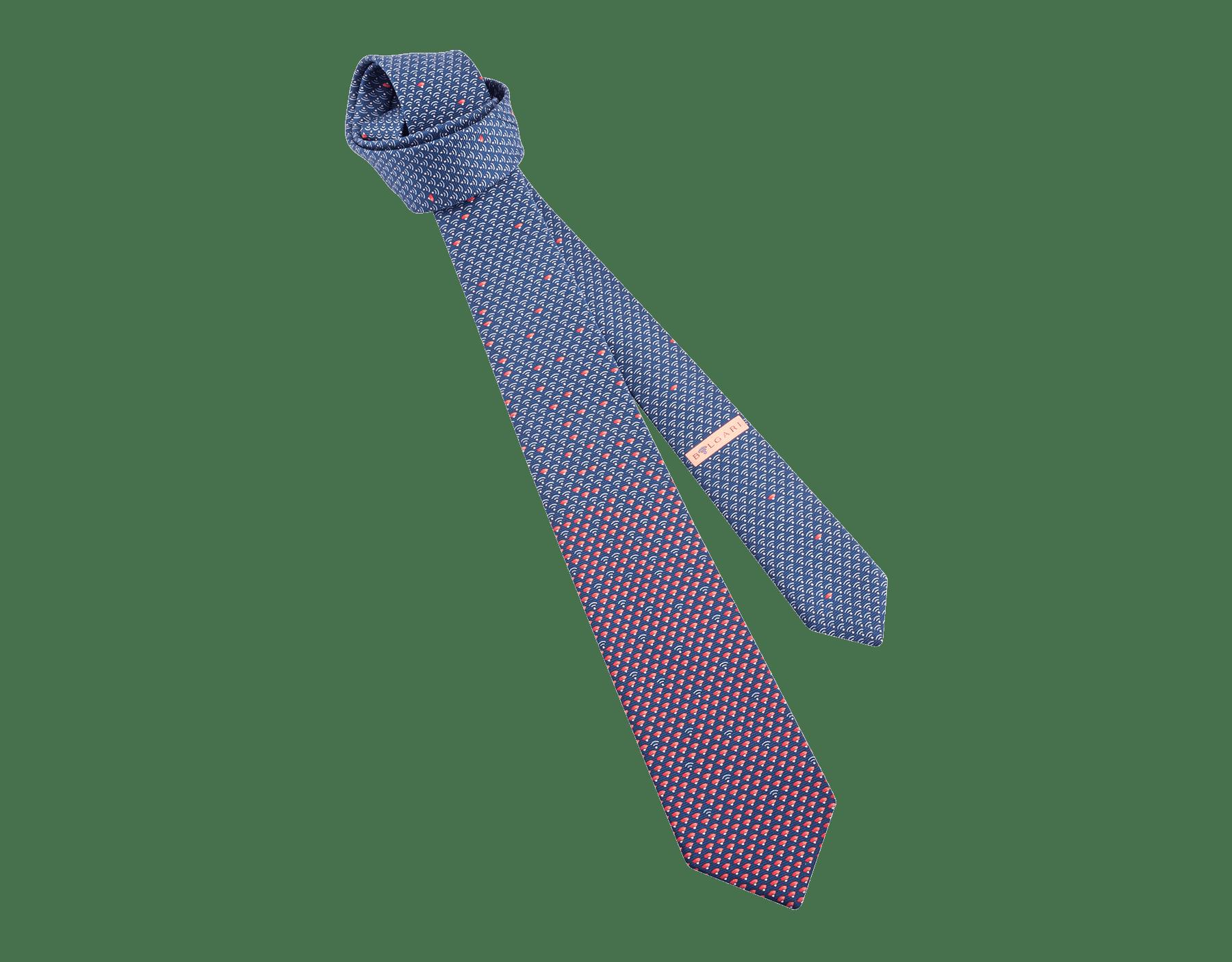 "Dark blue ""Double BLVTech"" tie in fine jacquard silk. 244553 image 1"
