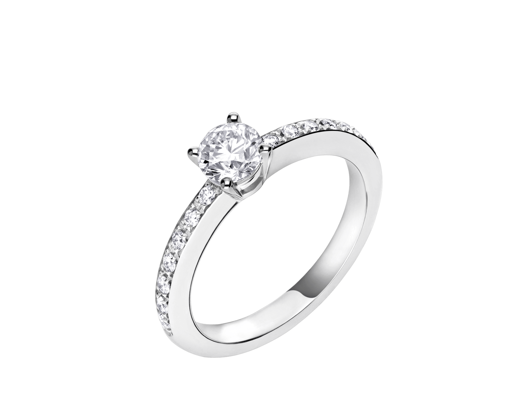 Griffe solitaire ring in platinum with a round brilliant cut diamond and pavé diamonds 340252 image 2