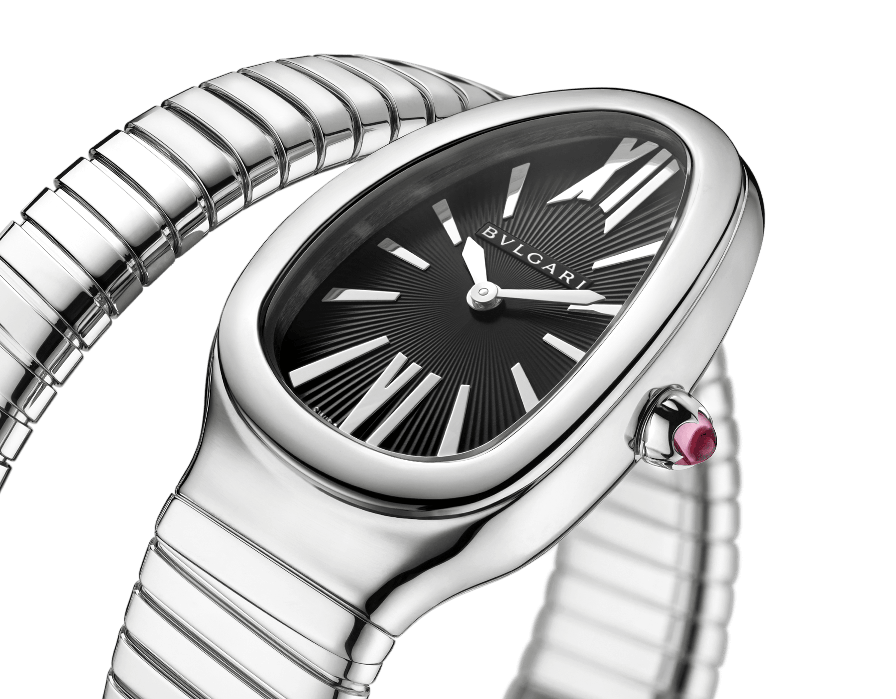 Serpenti Tubogas single spiral watch in stainless steel case and bracelet, with black opaline dial. SrpntTubogas-black-dial2 image 3