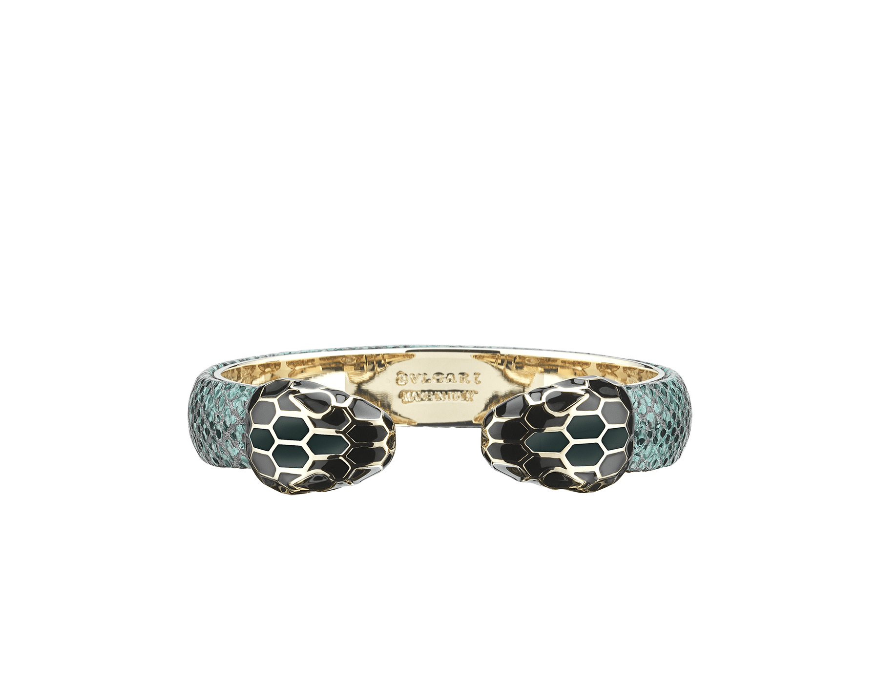 """""""Serpenti Forever"""" bangle bracelet in forest emerald metallic karung skin and light gold-plated brass hardware. Perfect to accessorise a day-to-night look, this model features an iconic contraire snakehead décor enamelled in black and forest emerald and finished with seductive black enamel eyes. SPContr-MK-FE image 1"""
