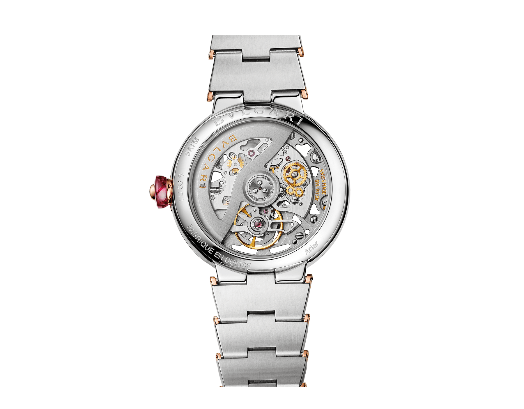LVCEA Skeleton watch with mechanical manufacture movement, automatic winding, stainless steel and 18 kt rose gold case and bracelet, and openwork BVLGARI logo dial 102878 image 3