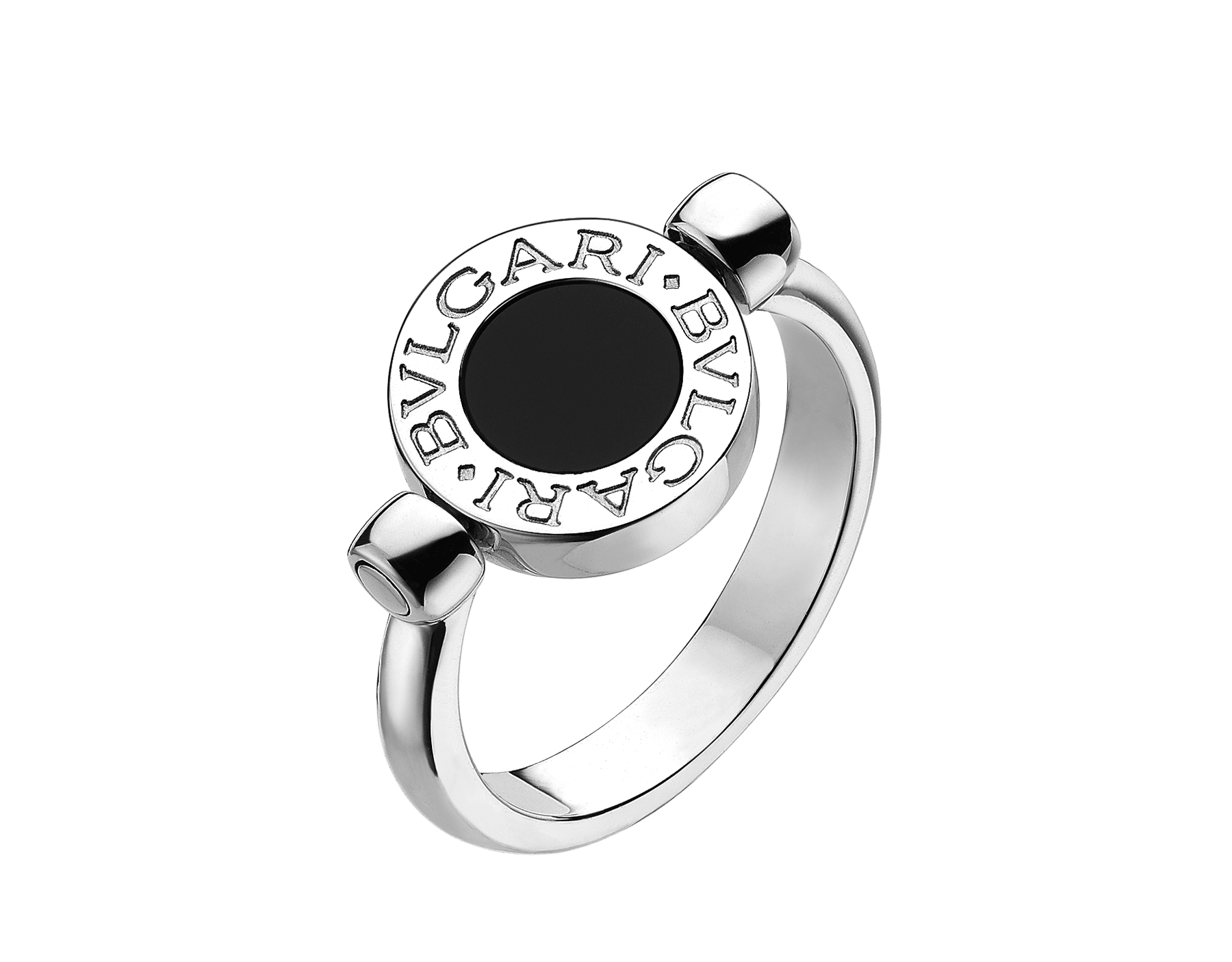BVLGARI BVLGARI 18 kt white gold flip ring set with black onyx and pavé diamonds AN850723 image 2