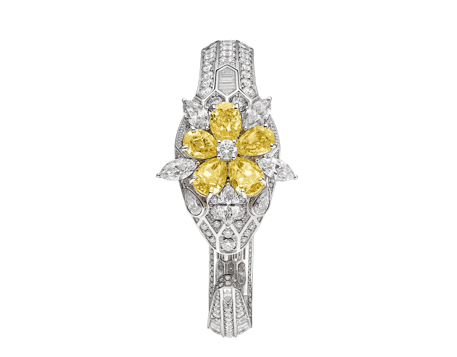 Serpenti Misteriosi Secret Watch with 18 kt white gold head set with brilliant-cut, baguette-cut and marquise-shaped diamonds, pear-shaped yellow diamonds and diamond eyes, 18 kt white gold case, dial and bracelet all set with brilliant-cut diamonds 103036 image 1