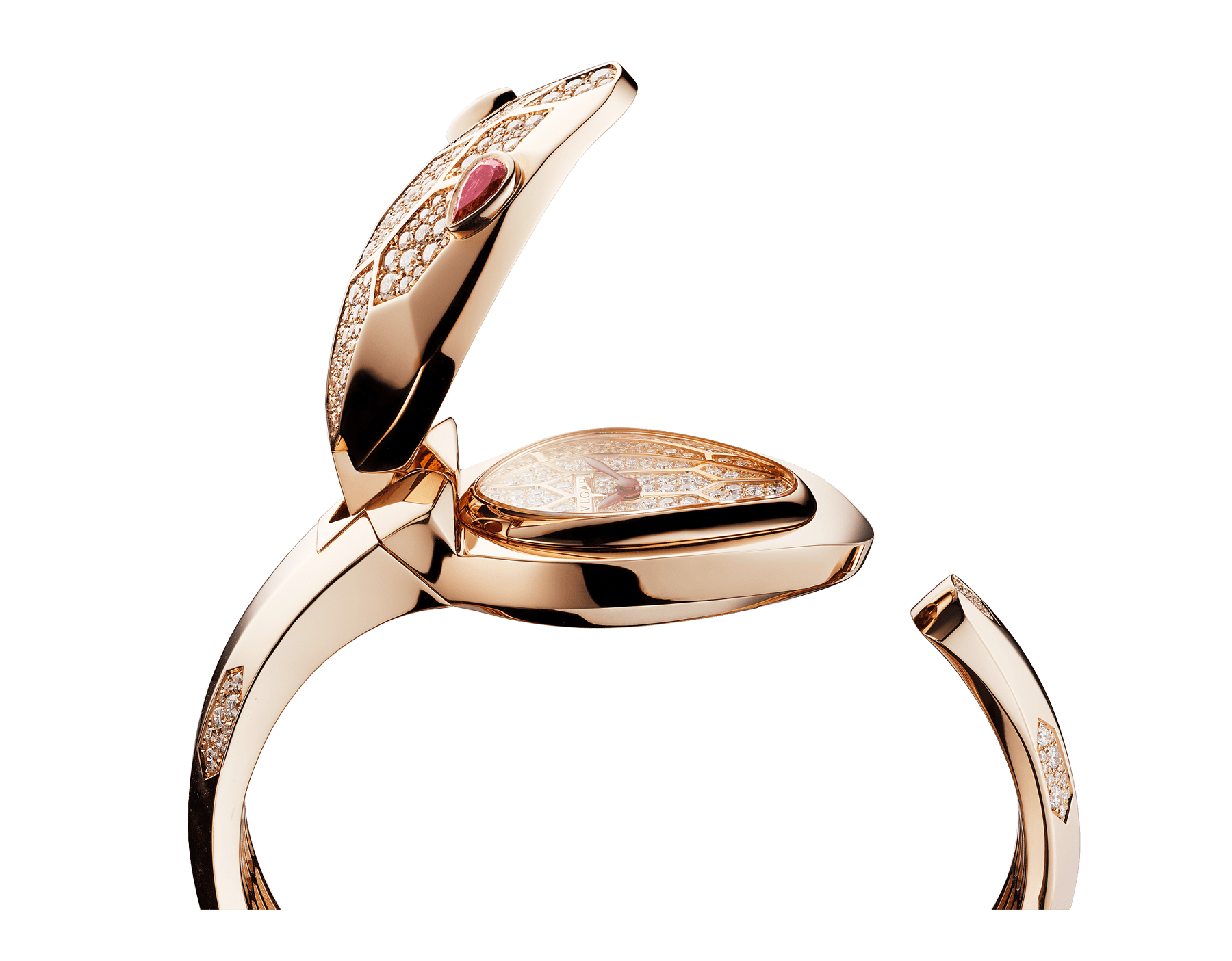 Serpenti Misteriosi Secret Watch in 18 kt rose gold case and bangle bracelet both set with round brilliant-cut diamonds, 18 kt rose gold diamond pavé dial and pear-shaped rubellite eyes. SrpntMister-SecretWtc-rose-gold2 image 1