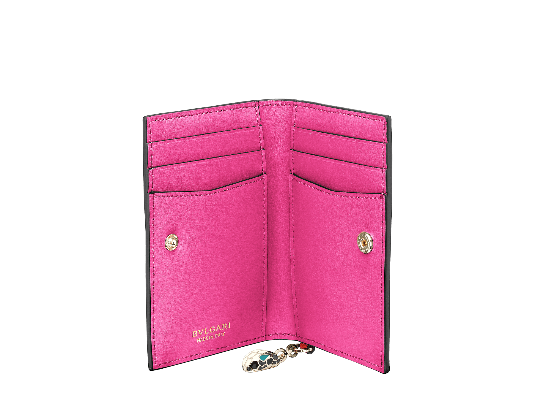 Serpenti Forever folded credit card holder in carmine jasper and flash amethyst calf leather. Iconic snakehead charm in black and white enamel, with green malachite enamel eyes. 288821 image 2