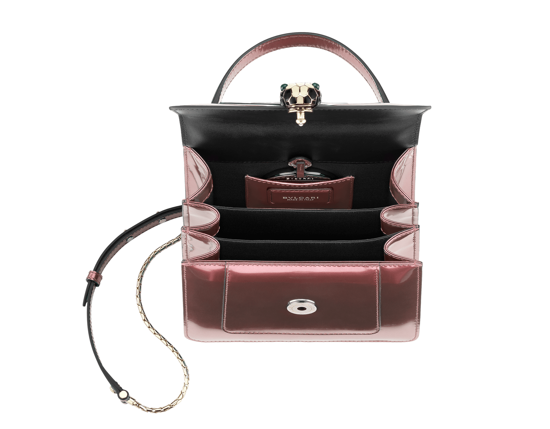 Flap cover bag Serpenti Forever in rose quartz brushed metallic calf leather. Brass light gold plated hardware and snake head closure in black and white enamel, with eyes in green malachite. 284802 image 4