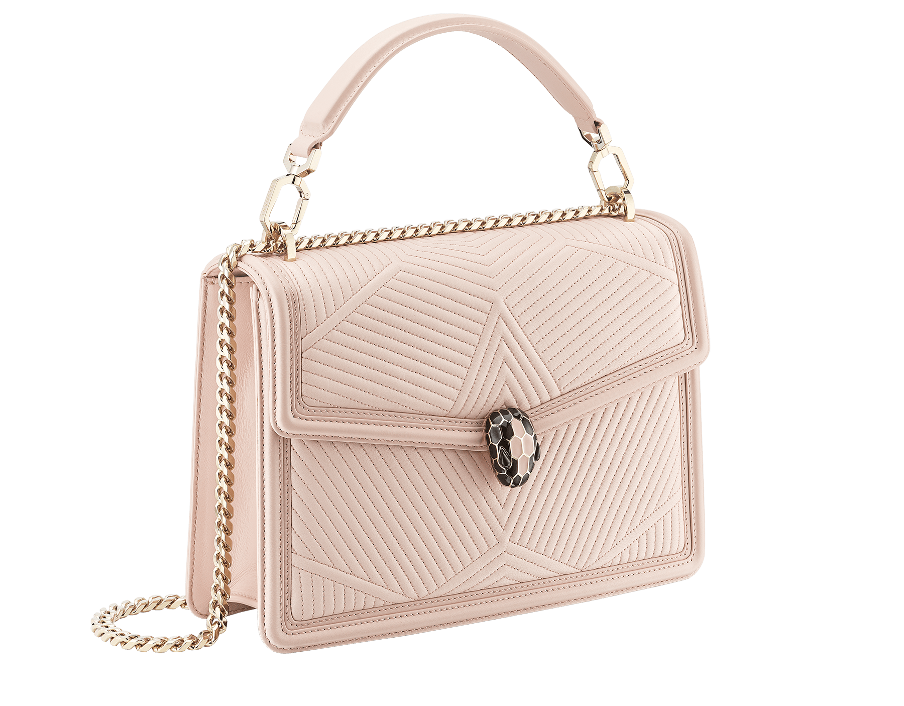 """Serpenti Diamond Blast"" shoulder bag in crystal rose quilted nappa leather body and crystal rose calf leather frames. Iconic snakehead closure in light gold plated brass enriched with black and crystal rose enamel and black onyx eyes 287387 image 2"
