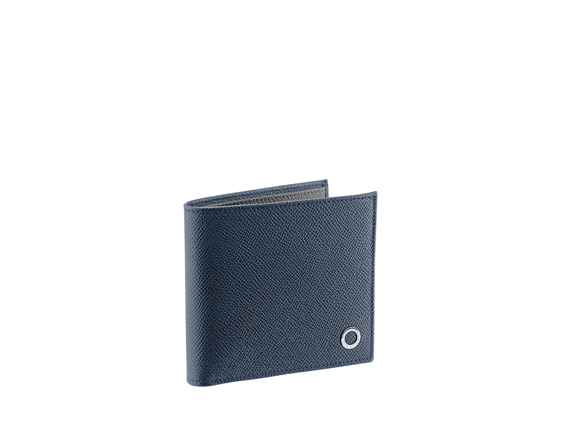 BVLGARI BVLGARI men's wallet in denim sapphire and charcoal diamond grain calf leather and blue slate nappa lining. Iconic logo décor in palladium plated brass. 289112 image 1