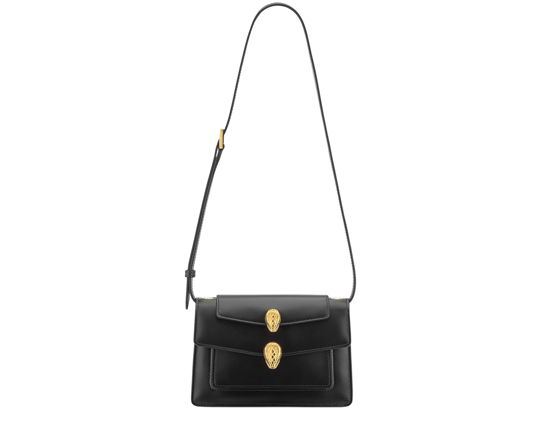 Alexander Wang x Bvlgari belt bag in smooth black calf leather. New double Serpenti head closure in antique gold plated brass with tempting red enamel eyes. Limited edition. 288737 image 5