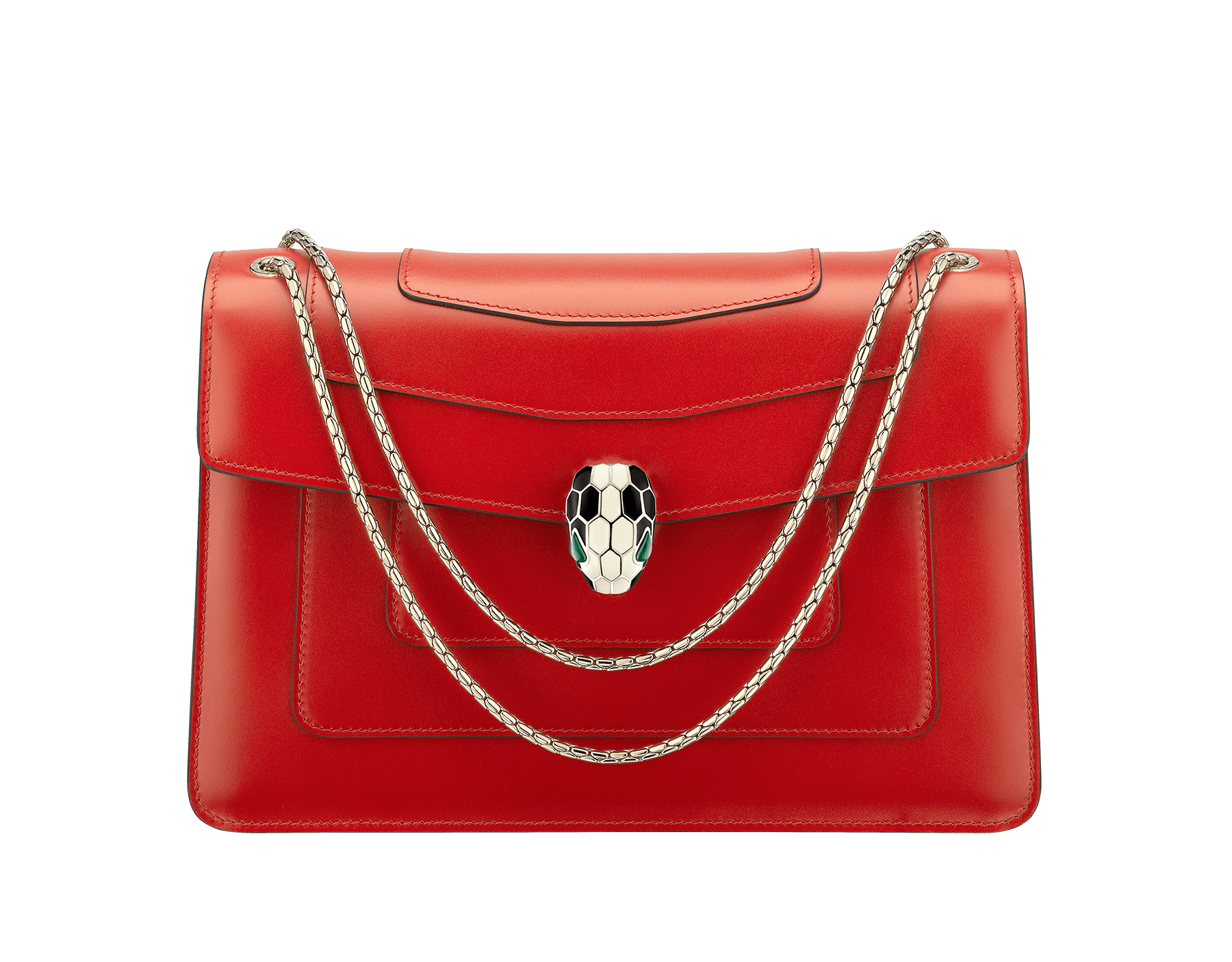 """Serpenti Forever "" shoulder bag in carmine jasper calf leather. Iconic snakehead closure in light gold plated brass enriched with black and white enamel and green malachite eyes 521-CLd image 1"