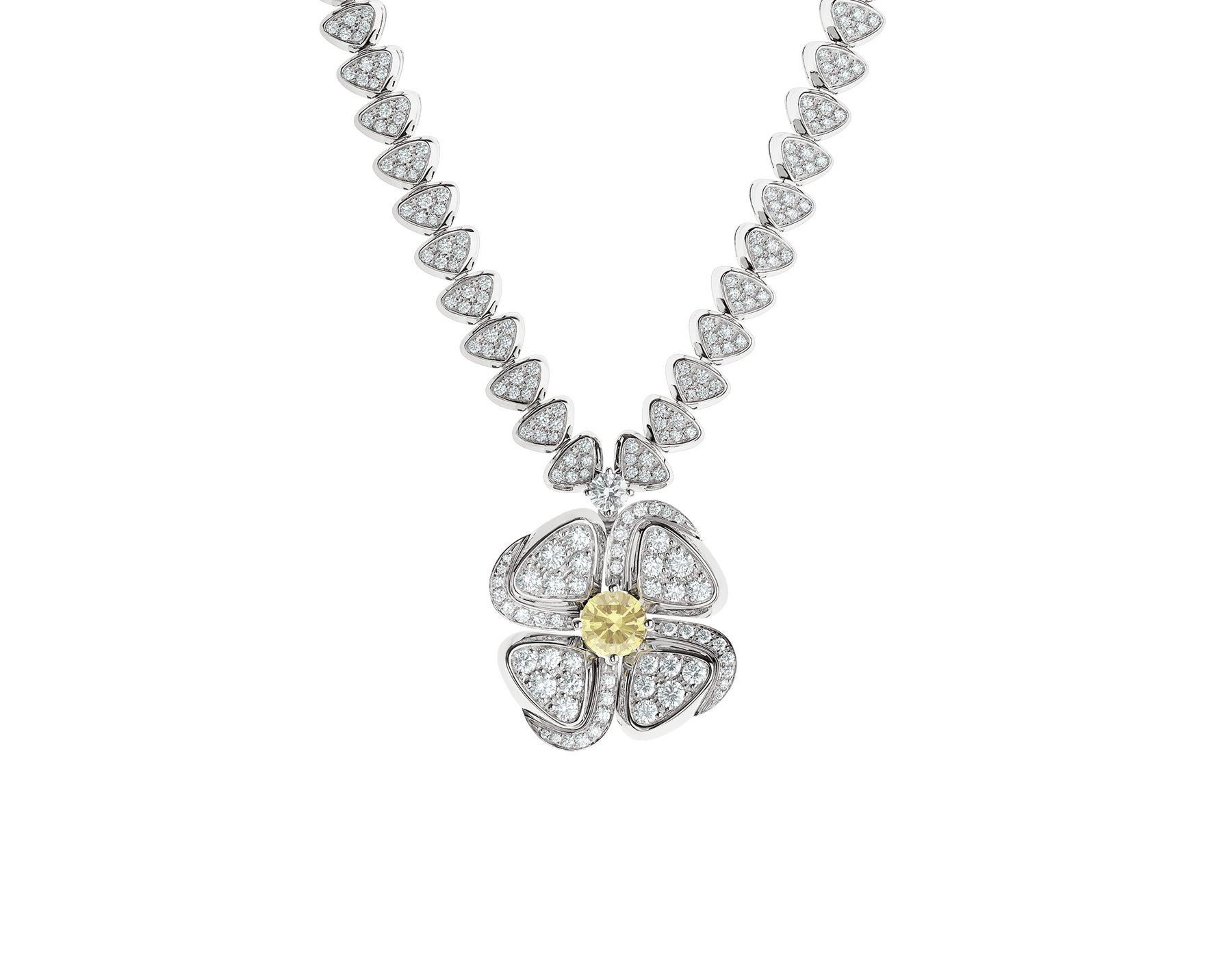 Fiorever 18 kt white gold necklace set with one central yellow diamond (0.50 ct) and pavé diamonds 357797 image 1