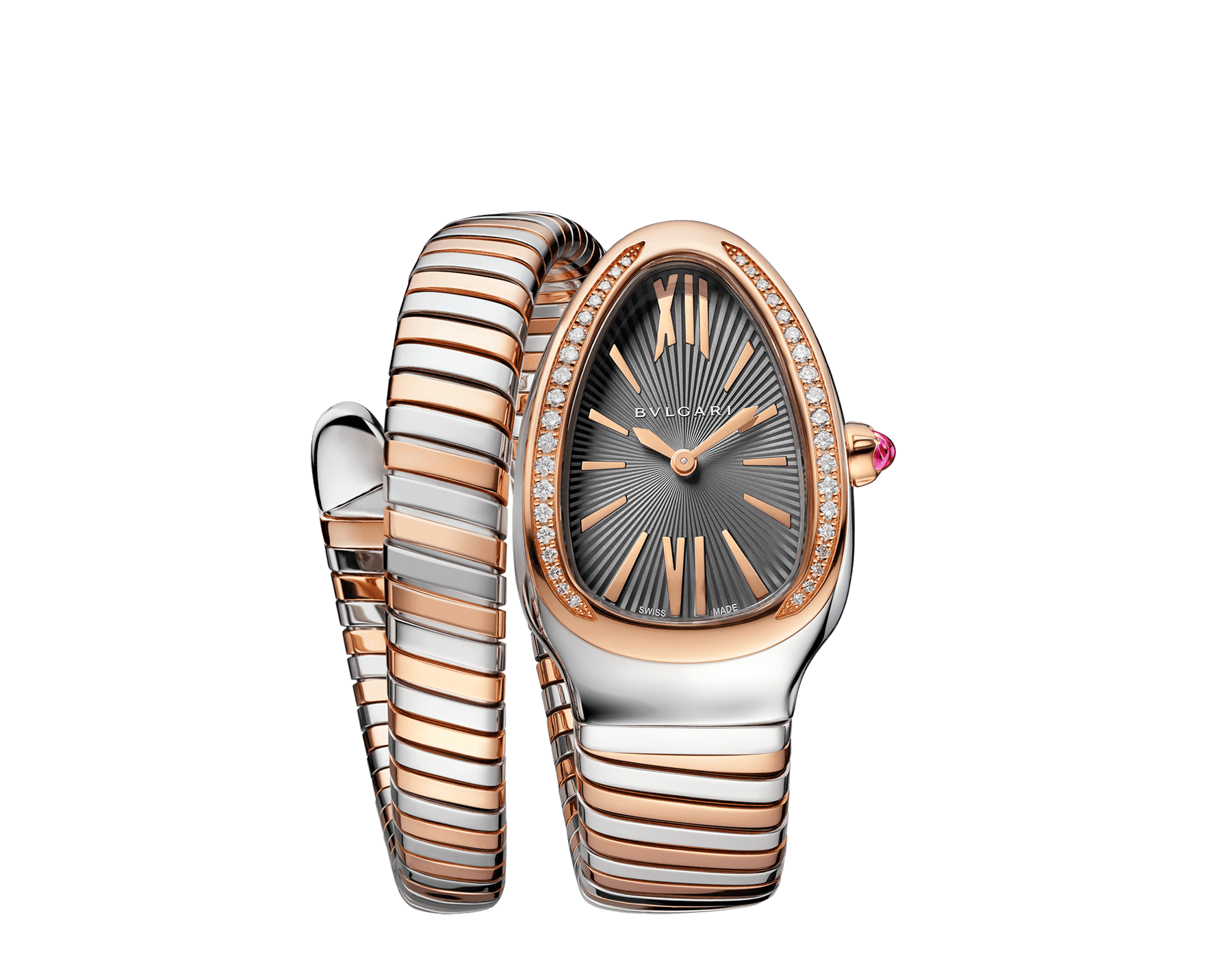 Serpenti Tubogas single spiral watch with stainless steel case, 18 kt rose gold bezel set with brilliant cut diamonds, grey lacquered dial, 18 kt rose gold and stainless steel bracelet. 102681 image 1