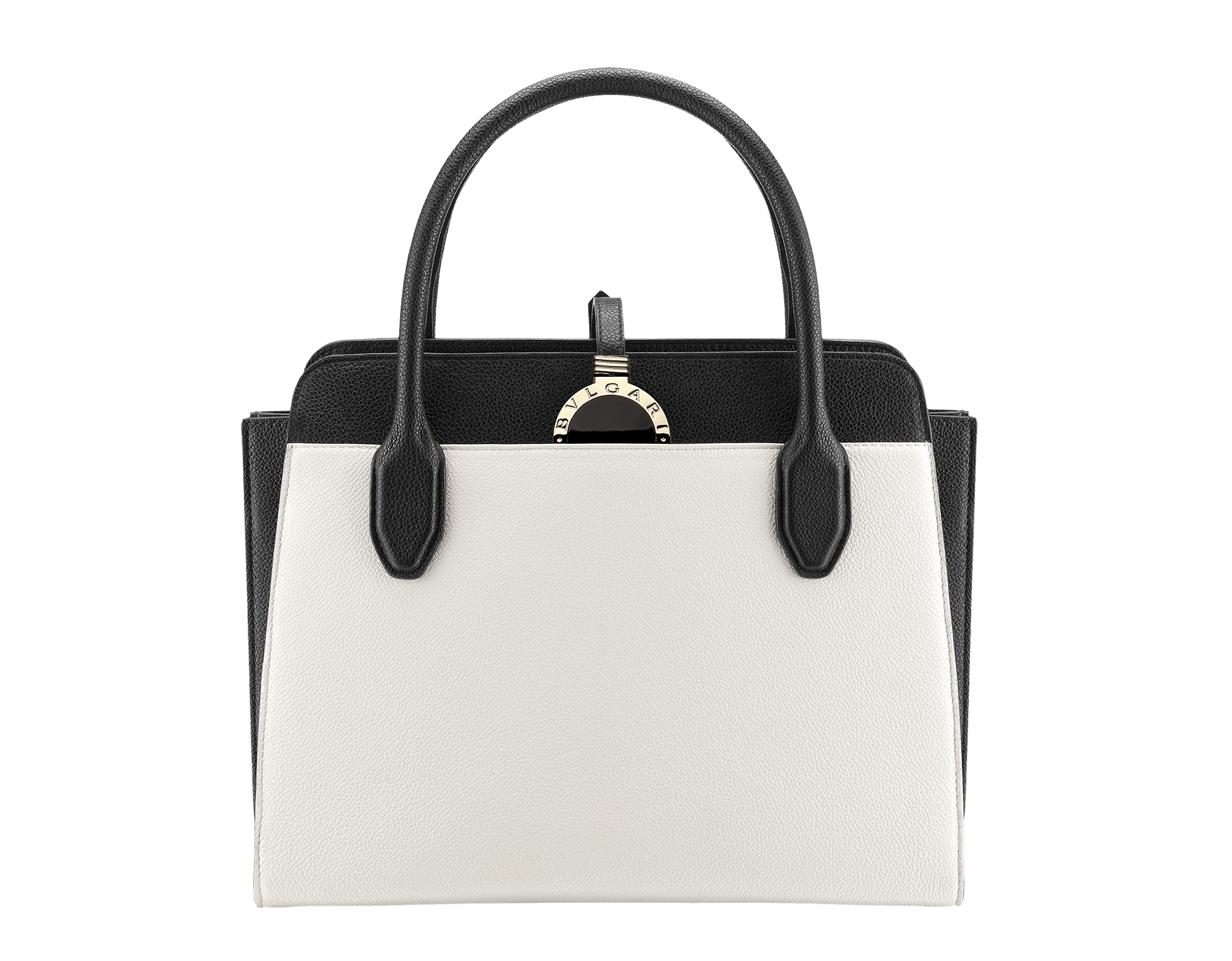 Tote bag BVLGARI BVLGARI Alba in white agate and black grain calf leather with zip closure. Pendant motif in brass light gold plated metal featuring the iconic double logo and Tubogas motif. 282797 image 1