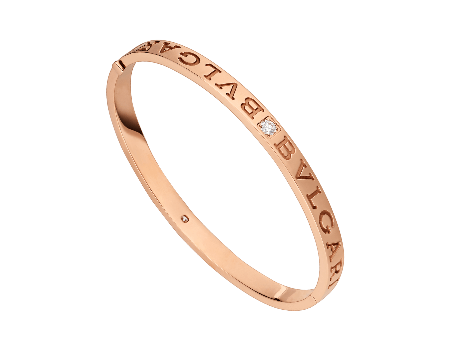 BVLGARI BVLGARI 18 kt rose gold bangle bracelet set with diamonds BR856760 image 1