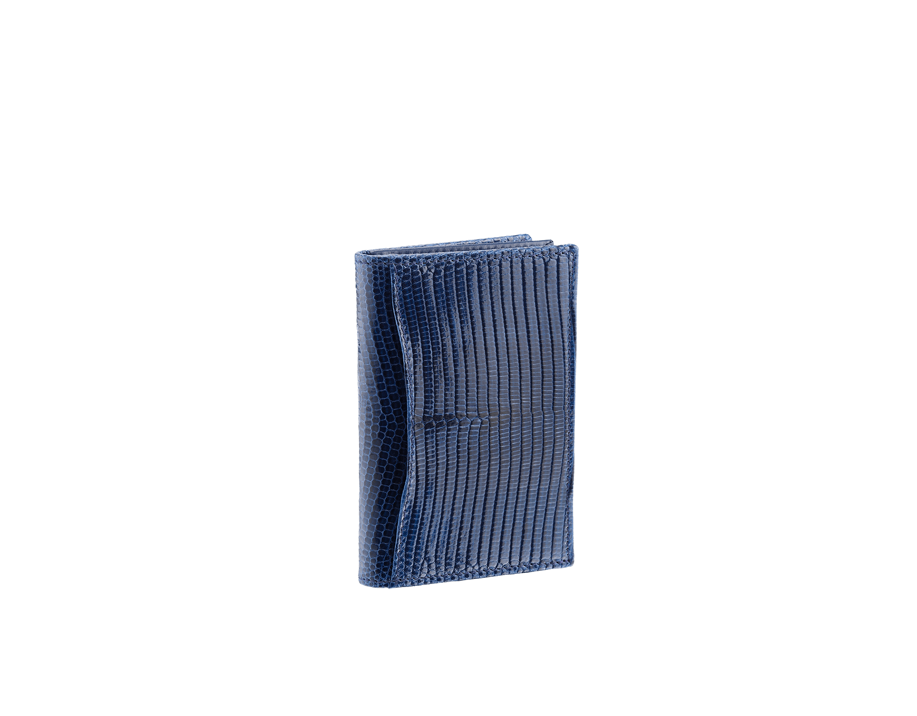 Business card holder in denim sapphire shiny lizard skin and calf leather with brass palladium plated BVLGARI BVLGARI motif. Three credit card slots, one open pocket and Business cards compartment. BBM-BC-HOLD-SIMPLE-sl image 3