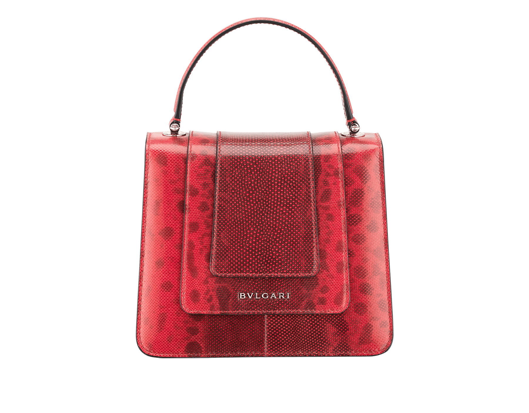 Serpenti Forever crossbody bag in sea star coral shiny karung skin. Snakehead closure in light gold plated brass decorated with black and white enamel, and green malachite eyes. 287915 image 3