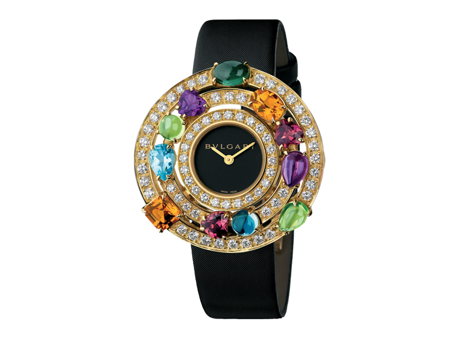 Astrale watch with 18 kt yellow gold case set with brilliant-cut diamonds and fancy-cut coloured gemstones, black dial and satin bracelet 101339 image 1