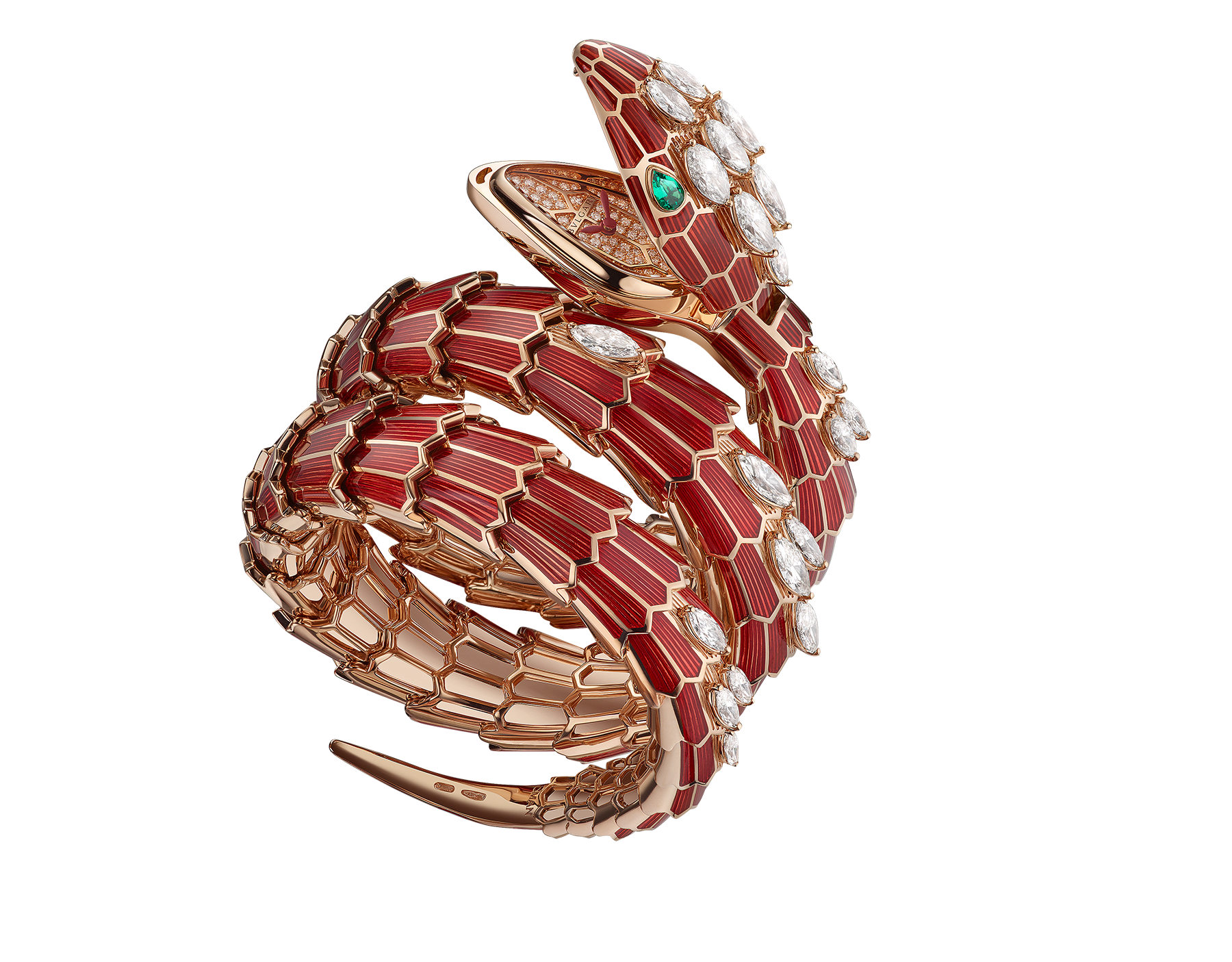 Serpenti Secret Watch with 18 kt rose gold head and double spiral bracelet, both coated with red lacquer and set with marquise-cut diamonds, emerald eyes and 18 kt rose gold dial set with brilliant cut diamonds. 102527 image 1