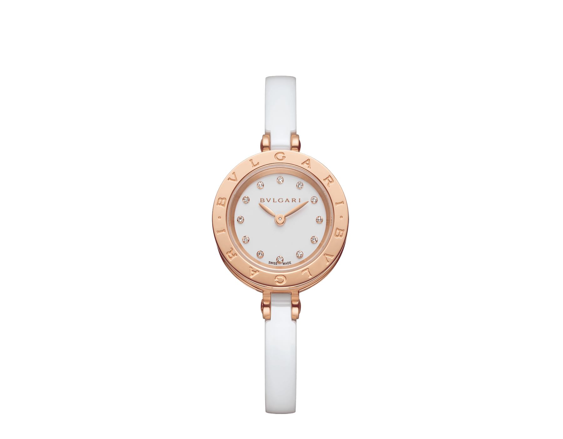 B.zero1 watch with 18 kt rose gold and white ceramic case, white lacquered dial set diamond indexes, white ceramic bangle and 18 kt rose gold clasp. B01watch-white-white-dial3 image 1