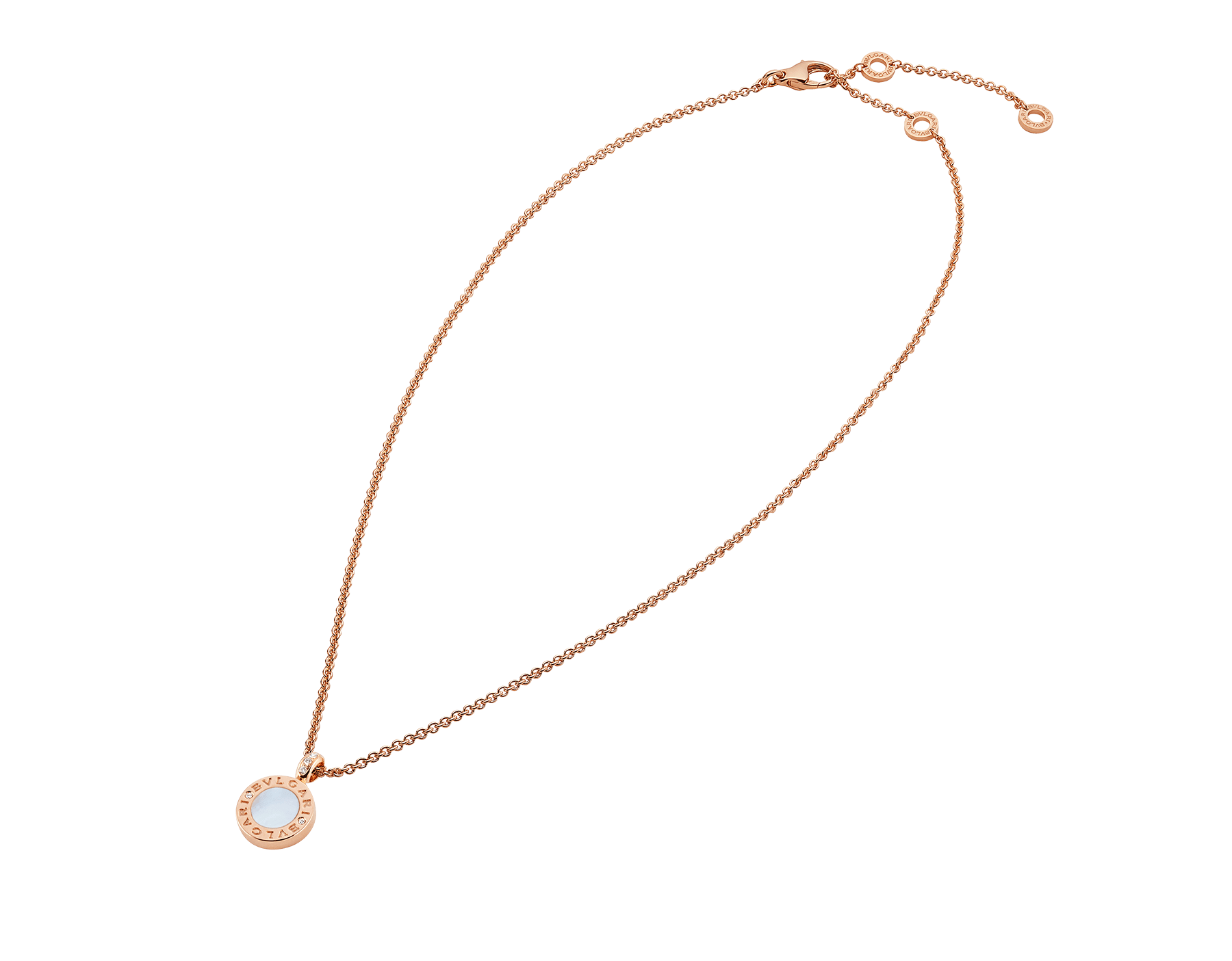 BVLGARI BVLGARI necklace with 18 kt rose gold chain and pendant, set with carnelian and mother-of-pearl discs and with details in pavé diamonds. 352883 image 2