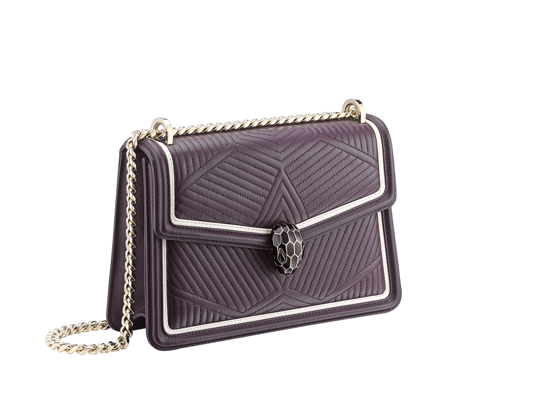 """Serpenti Diamond Blast"" shoulder bag in plum amethyst quilted nappa leather body and tone-on-tone and white calf leather frames. Iconic snakehead closure in light gold-plated brass enriched with plum amethyst and black enamel and black onyx eyes. 288635 image 2"