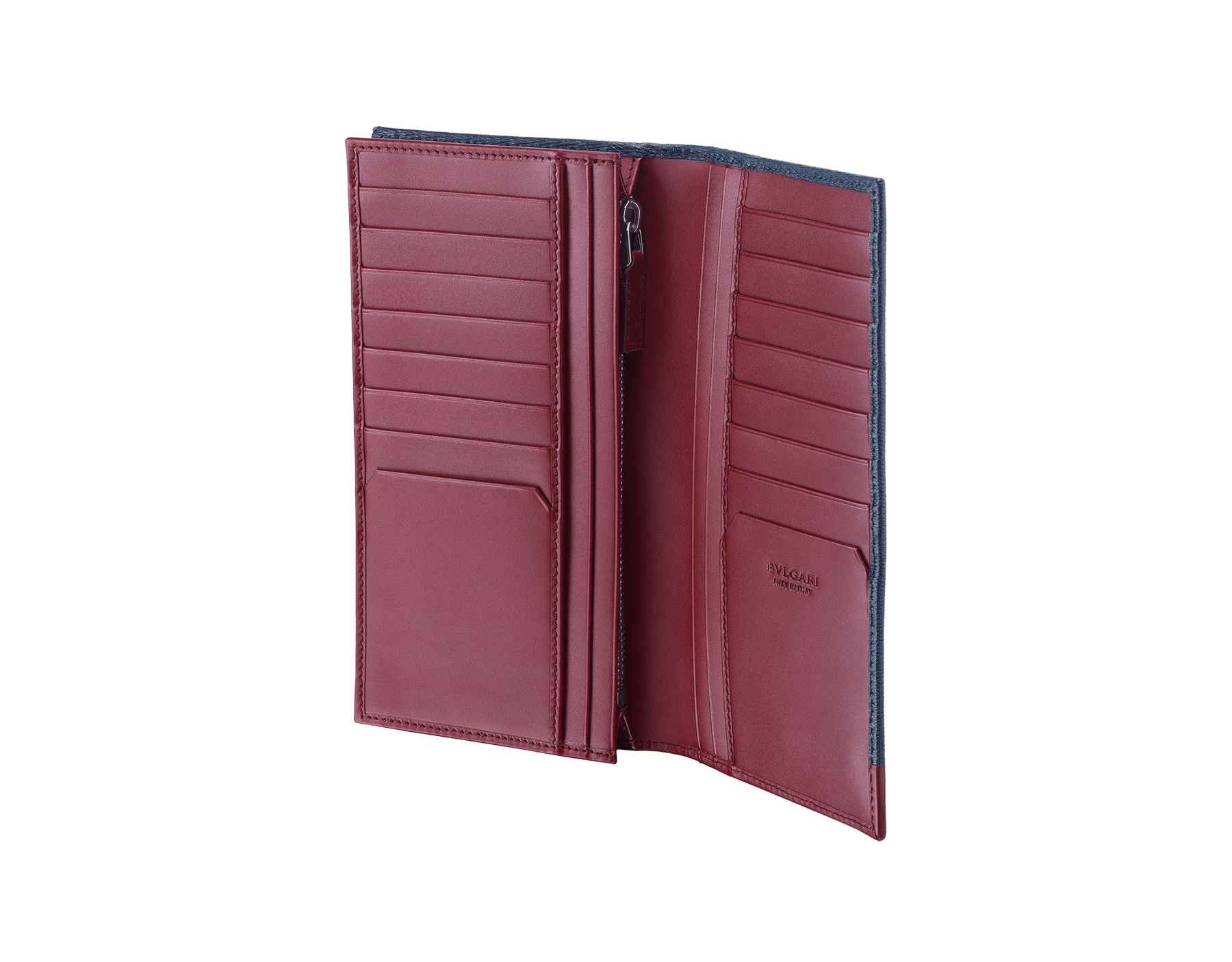 Serpenti Scaglie men's wallet for yen in denim sapphire grazed calf leather with brass and roman garnet calf leather. Bvlgari logo engraved on the hexagonal scaglie metal plate. 288463 image 2
