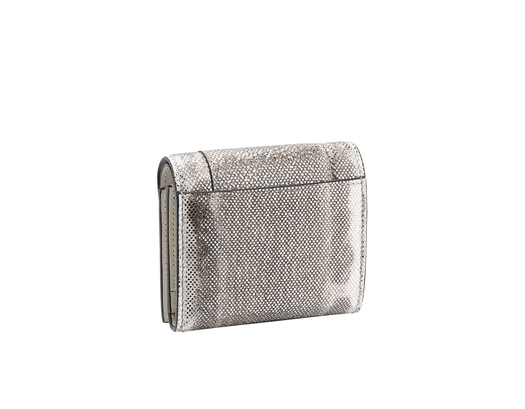 Serpenti Forever super compact wallet in milky opal metallic karung skin and milky opal calf leather. Iconic snakehead stud closure in black and glitter milky opal enamel, with black enamel eyes. SEA-SUPERCOMPACT-MK image 4