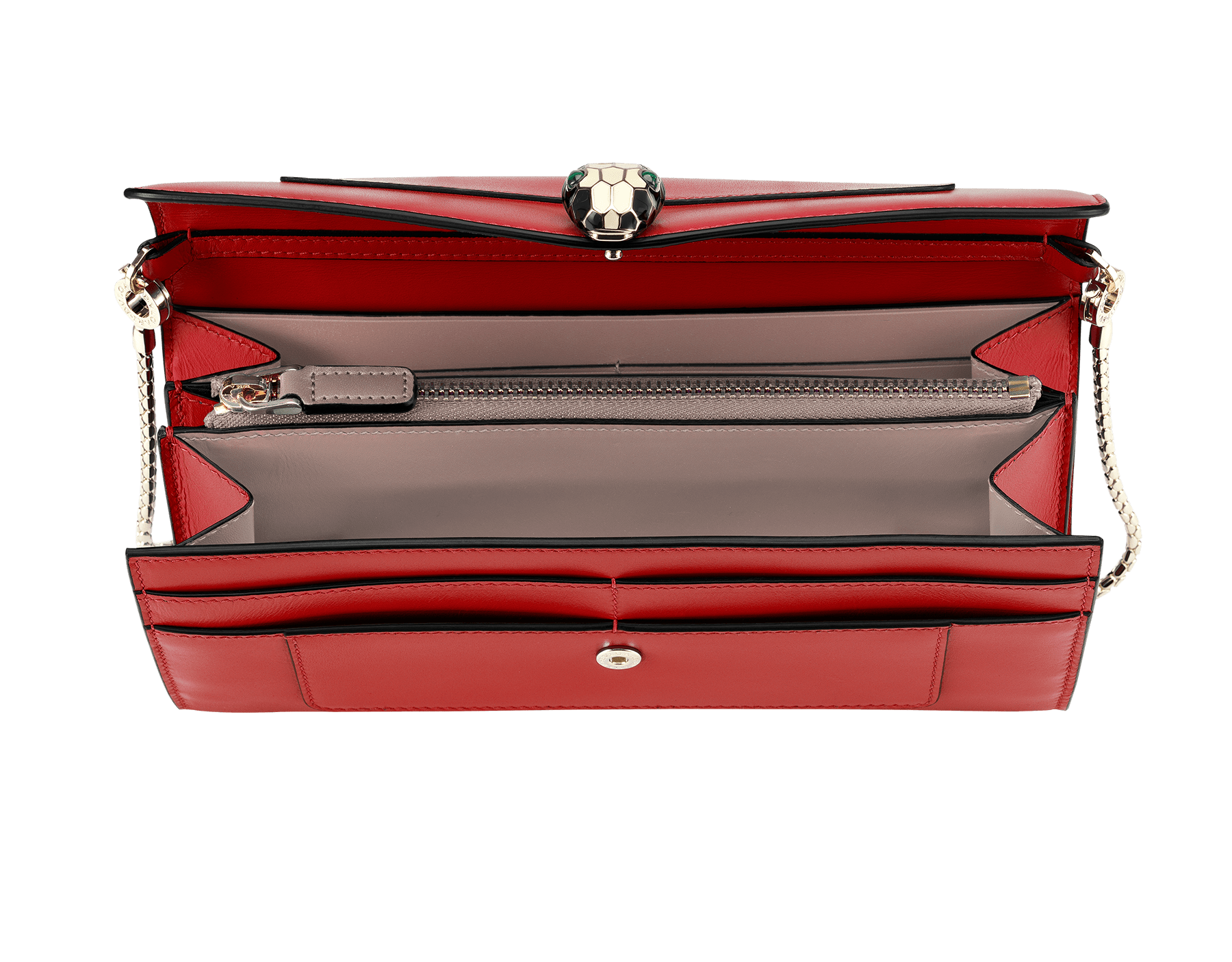 Wallet pouch in ruby red and desert quartz calf leather, with fuxia nappa lining. Brass light gold plated Serpenti head stud closure in black and white enamel with malachite eyes. 281315 image 2