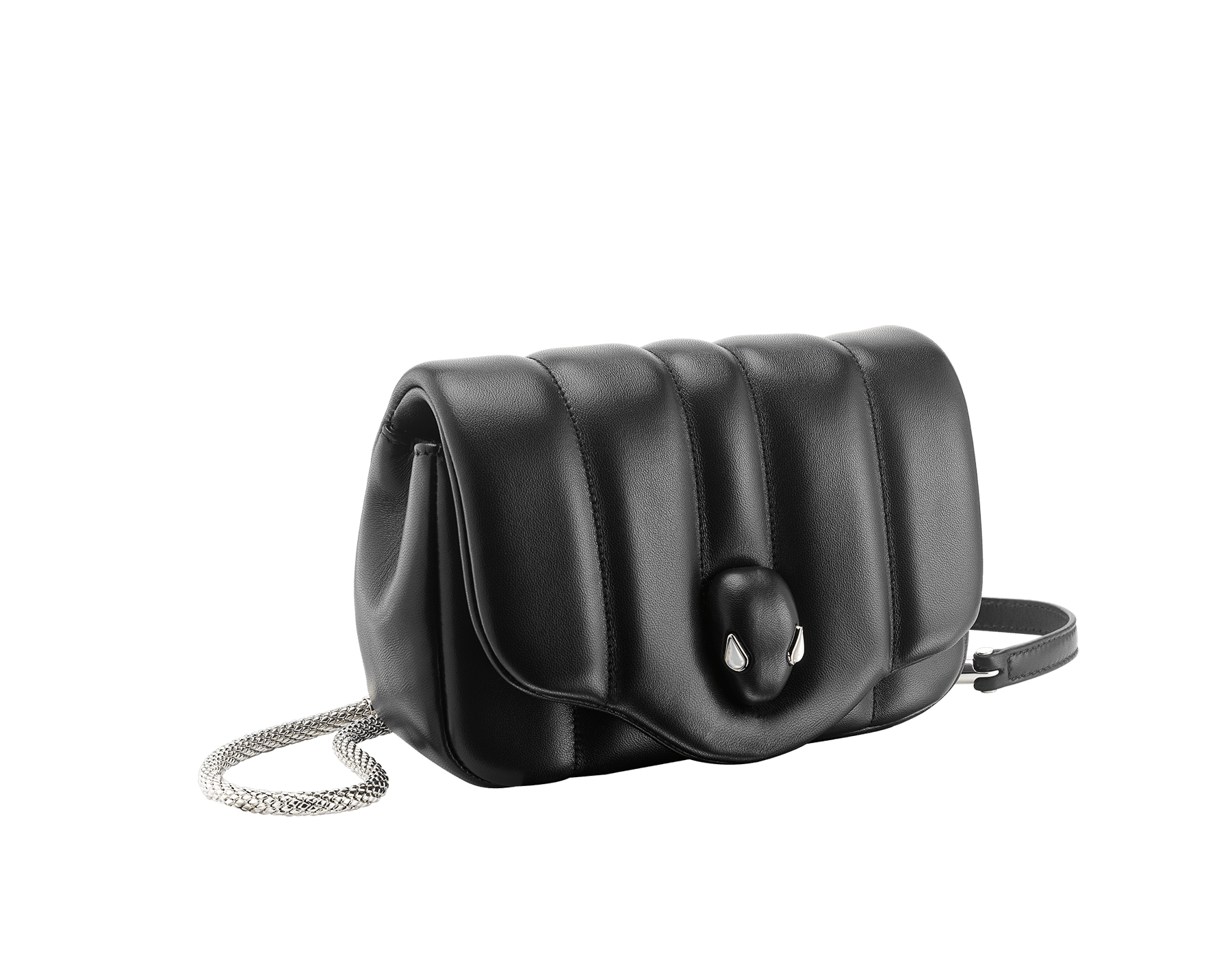 """Ambush x Bvlgari"" belt bag in black nappa leather. New Serpenti head closure in palladium plated brass dressed with black nappa leather, finished with seductive mother of pearl eyes. Limited edition. 290348 image 2"