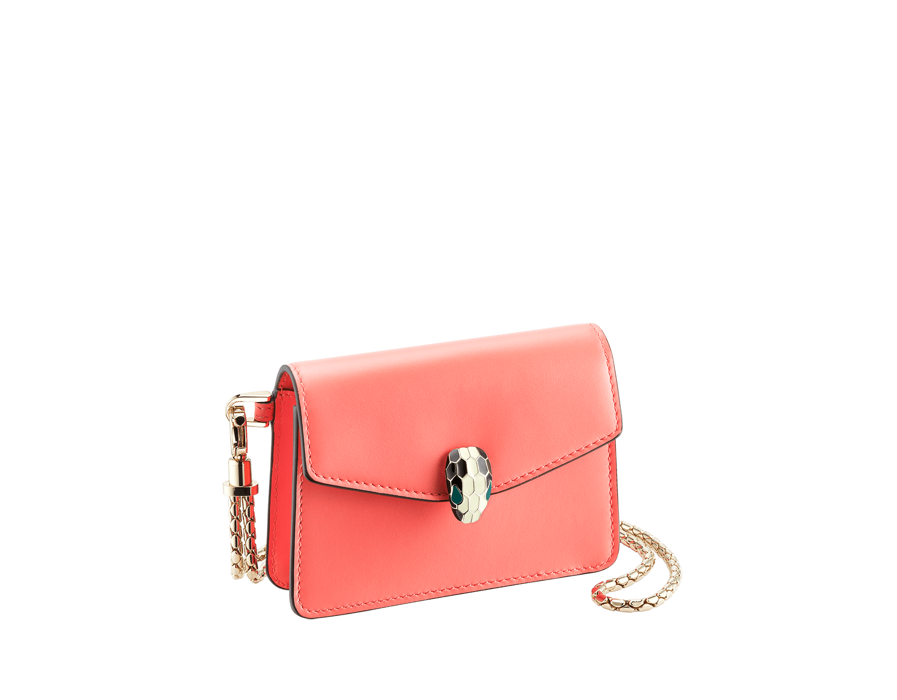 Serpenti Forever neck credit card holder in silky coral calf leather. Iconic snakehead closure in black and white enamel, with green enamel eyes. 289100 image 1