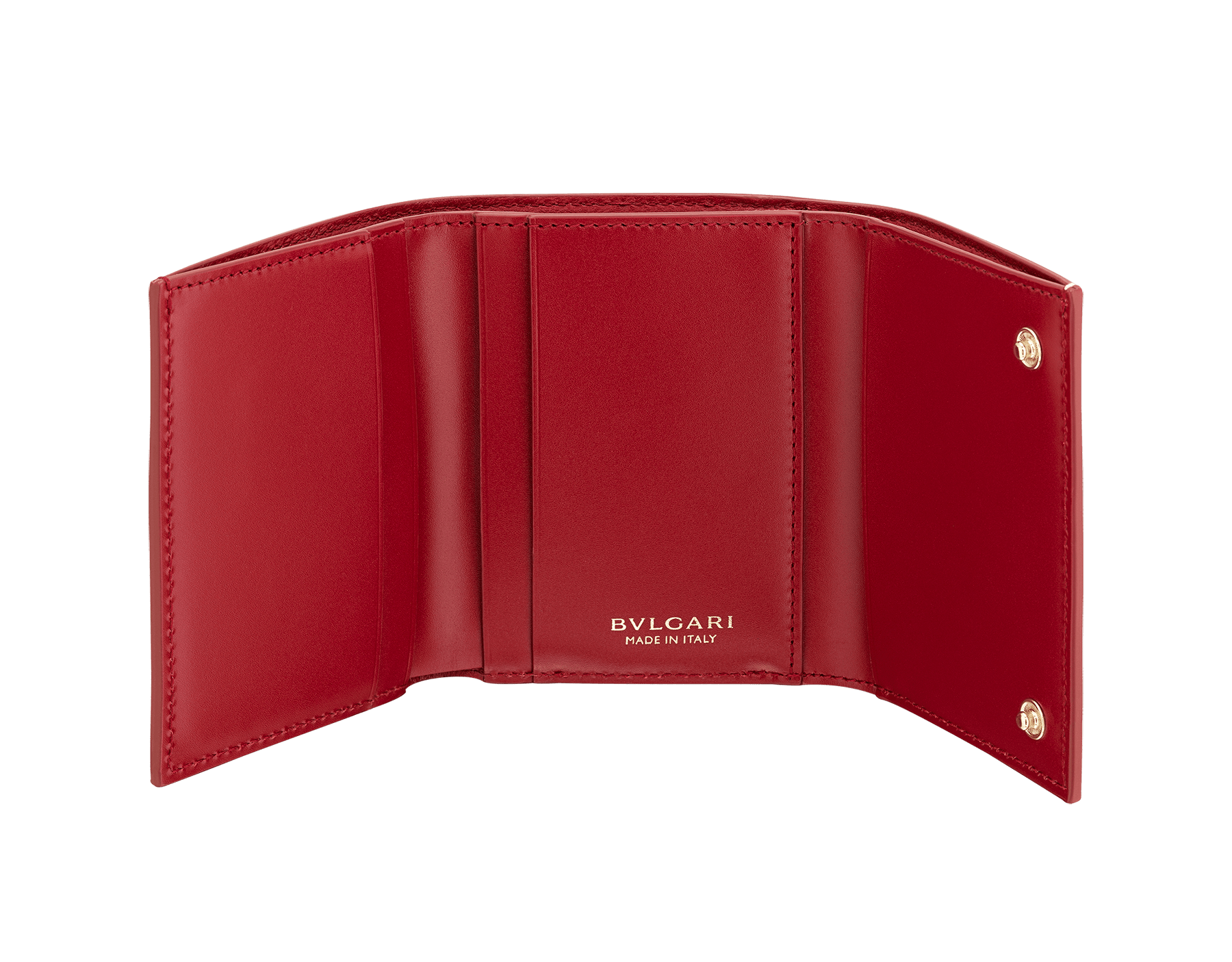 """B.zero1"" compact wallet in white agate and ruby red goatskin and ruby red calf leather. Iconic B.zero1 zipper in light gold plated brass and two press-stud closures. BZA-SLIMCOMPACTa image 2"