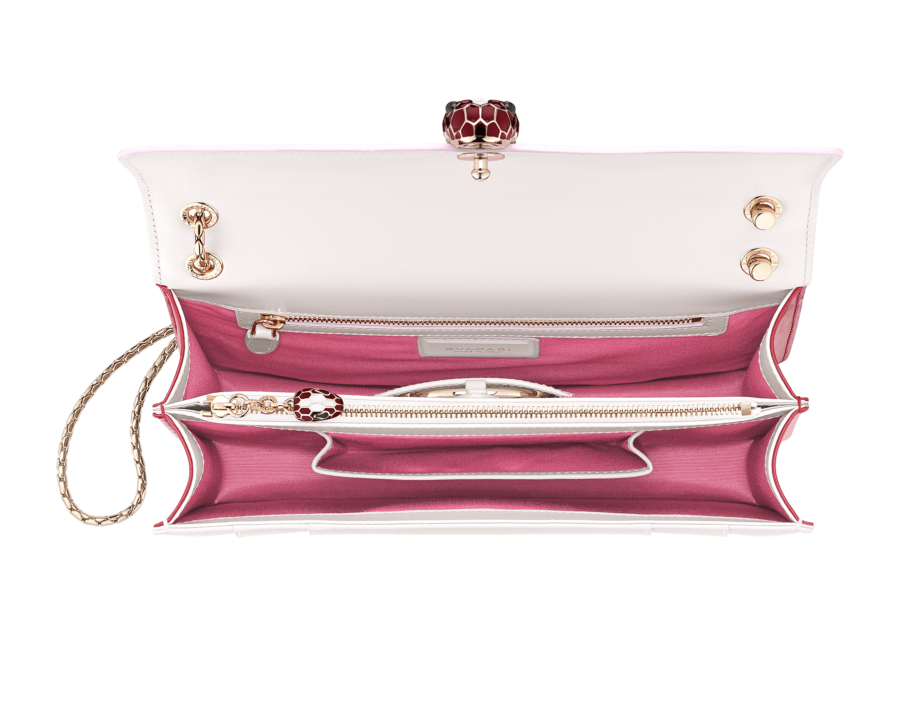 Serpenti Forever crossbody bag in Roman garnet calf leather, with rosa di francia calf leather sides. Iconic snakehead closure in light gold plated brass embellished with rosa di francia and black enamel and black onyx eyes. 521-BCL image 4