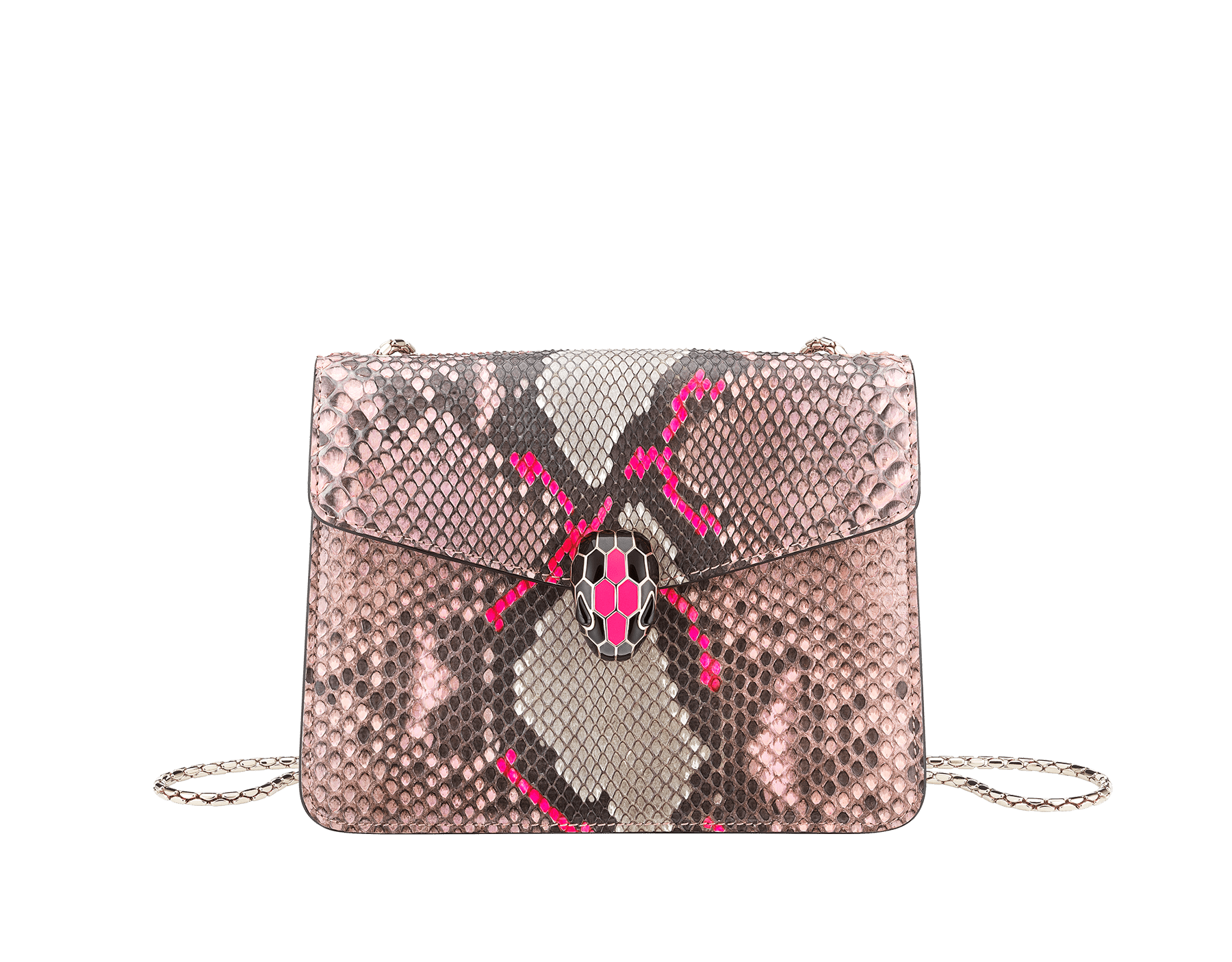"""Serpenti Forever"" crossbody bag in silky coral and flash amethyst Neon python skin. Iconic snake head closure in light gold plated brass enriched with black and flash amethyst enamel and black onyx eyes. 288953 image 1"