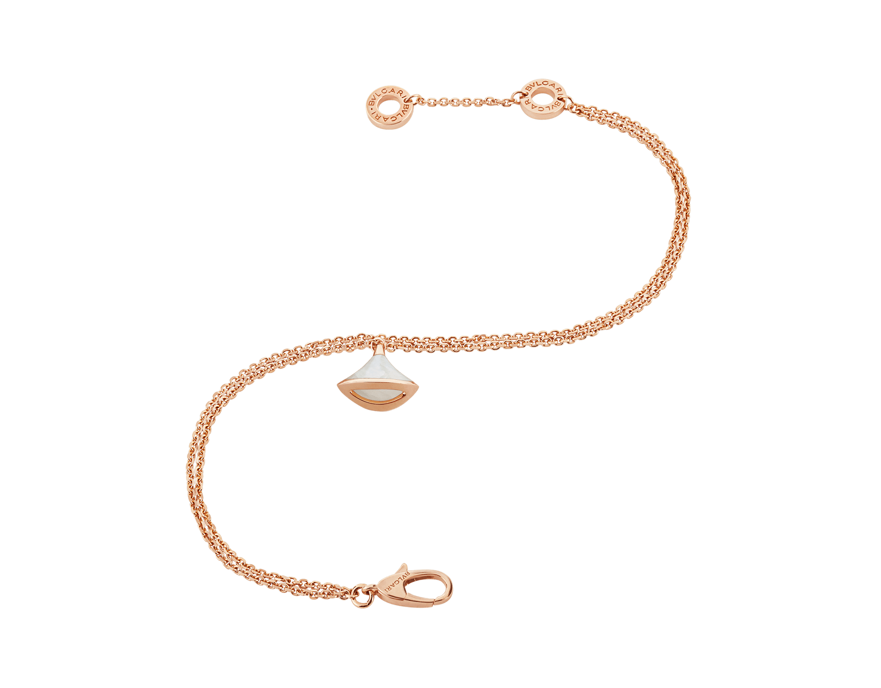 DIVAS' DREAM bracelet in 18 kt rose gold, with 18 kt rose gold pendant set with mother-of-pearl. BR857196 image 2