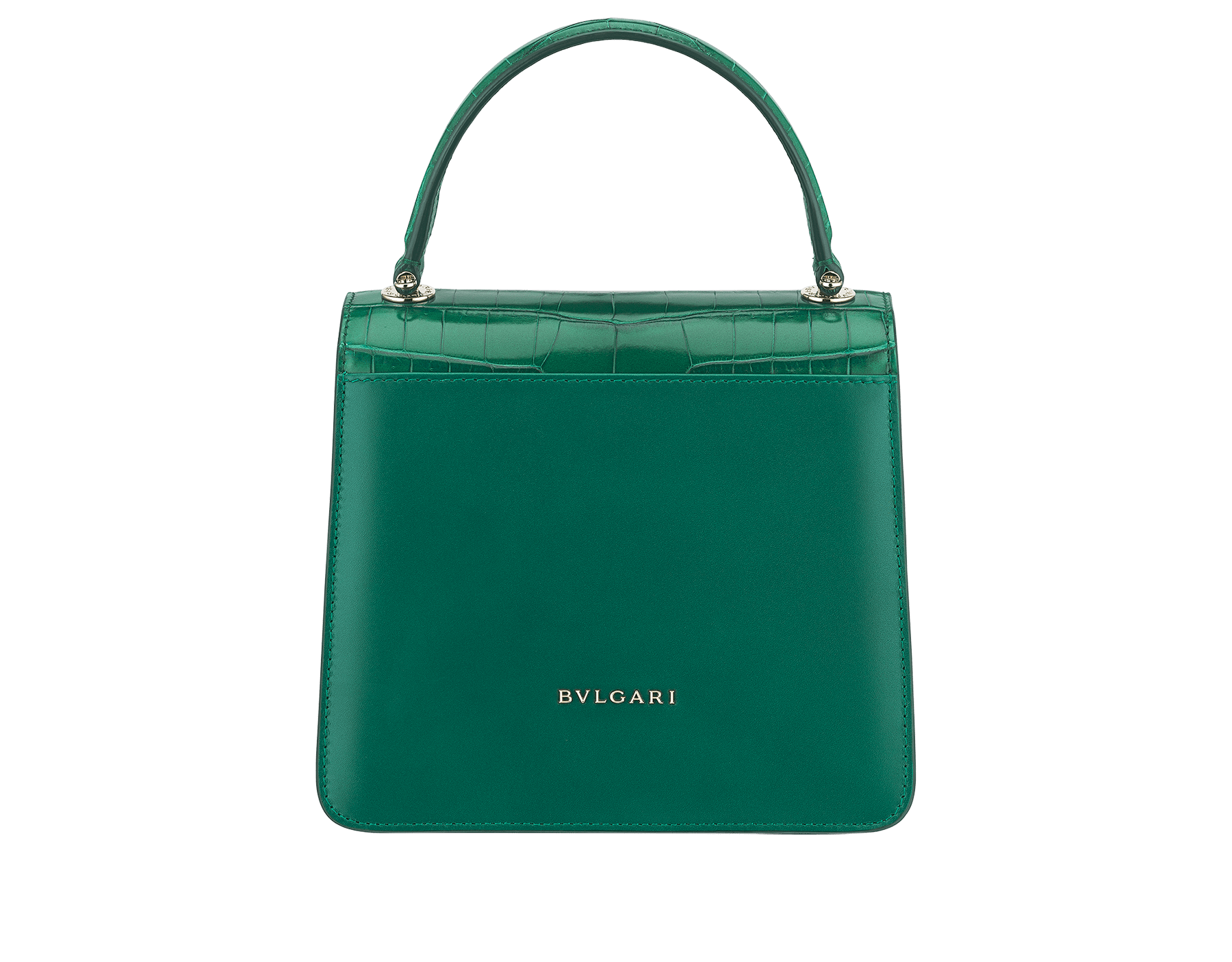"""Serpenti Forever "" crossbody bag in emerald green shiny croco flap and emerald green calf leather body and sides. Iconic snake head closure in light gold plated brass enriched with black and emerald green enamel and black onyx eyes. 288977 image 3"
