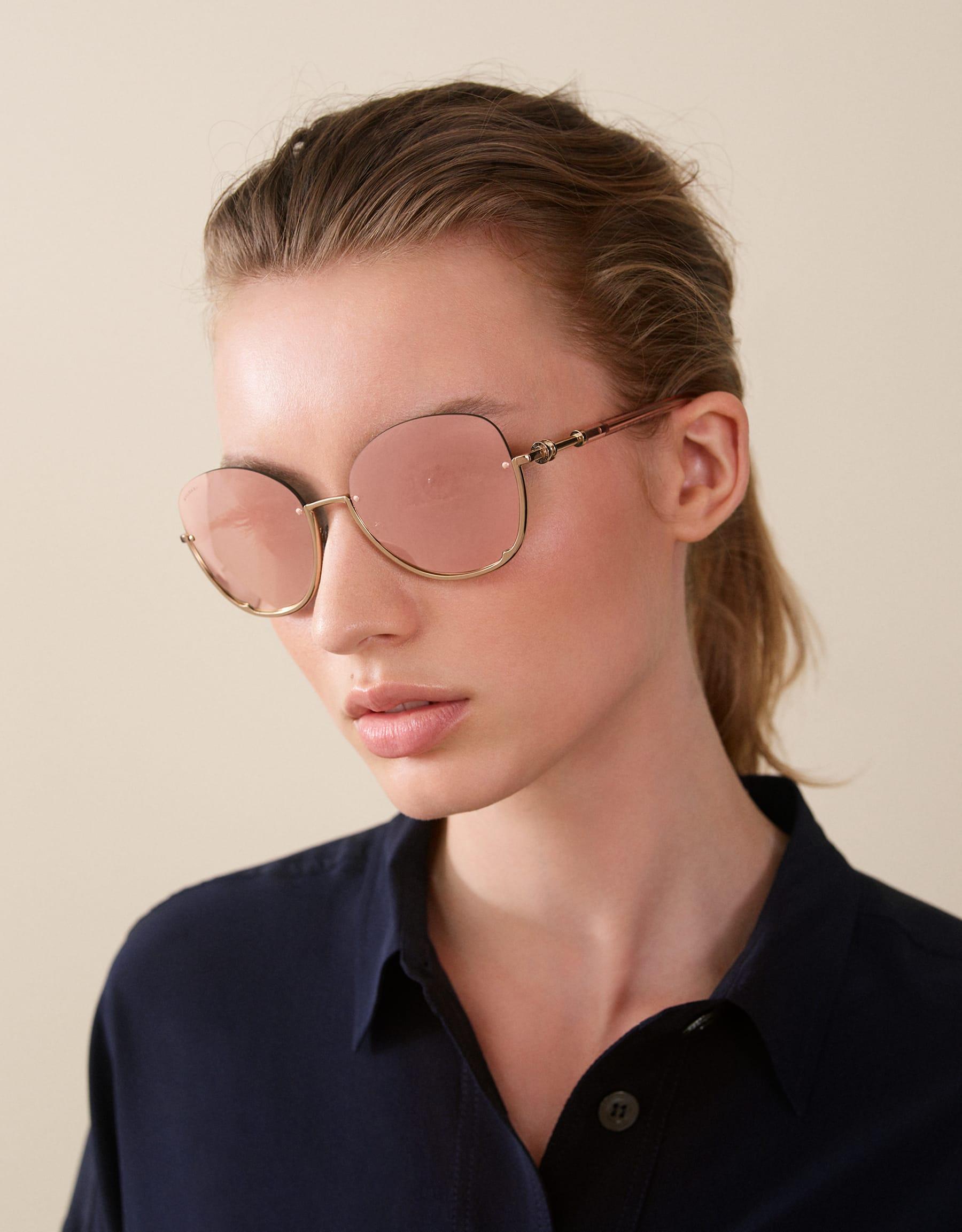 Runde Bvlgari B.zero1 Halbrand-Sonnenbrille aus Metall. 903821 image 3
