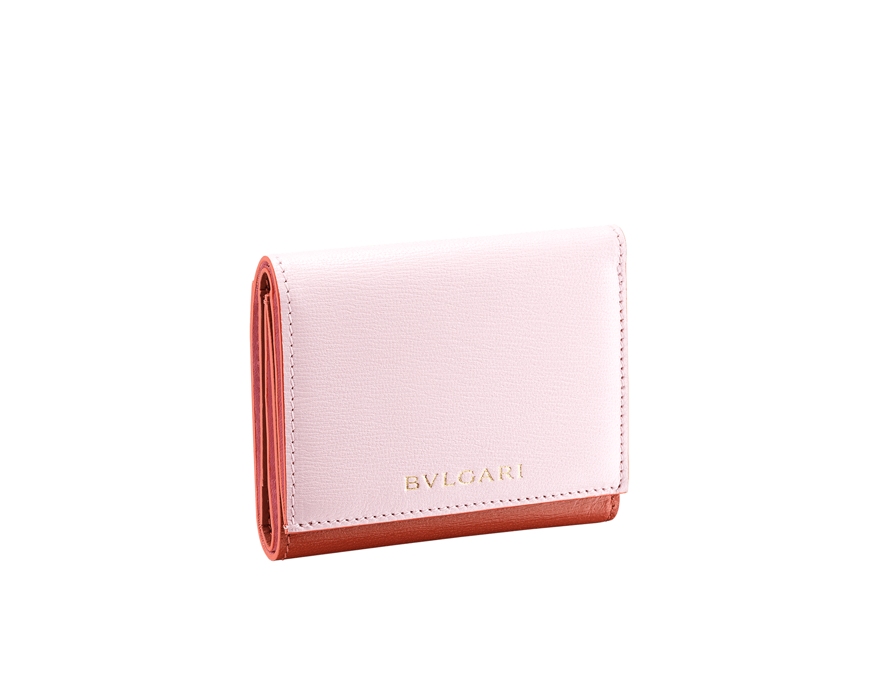 B.zero1 compact wallet in rosa di francia and imperial topaz goatskin. Iconic B.zero1 zip in light gold plated brass and two press stud closures. 289085 image 1