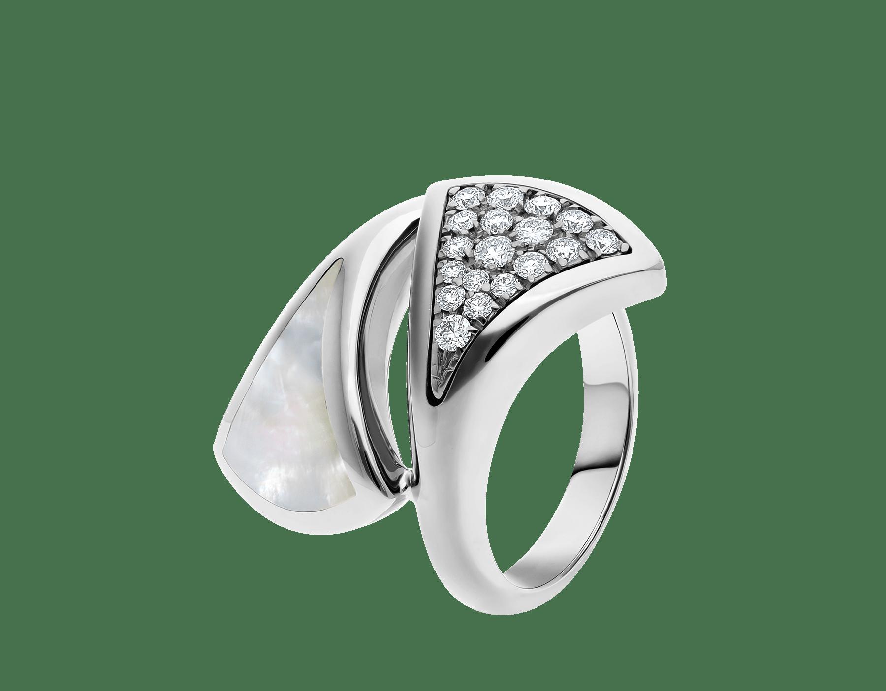 Anillo Contraire DIVAS' DREAM en oro blanco de 18 qt con madreperla y pavé de diamantes. AN857957 image 1