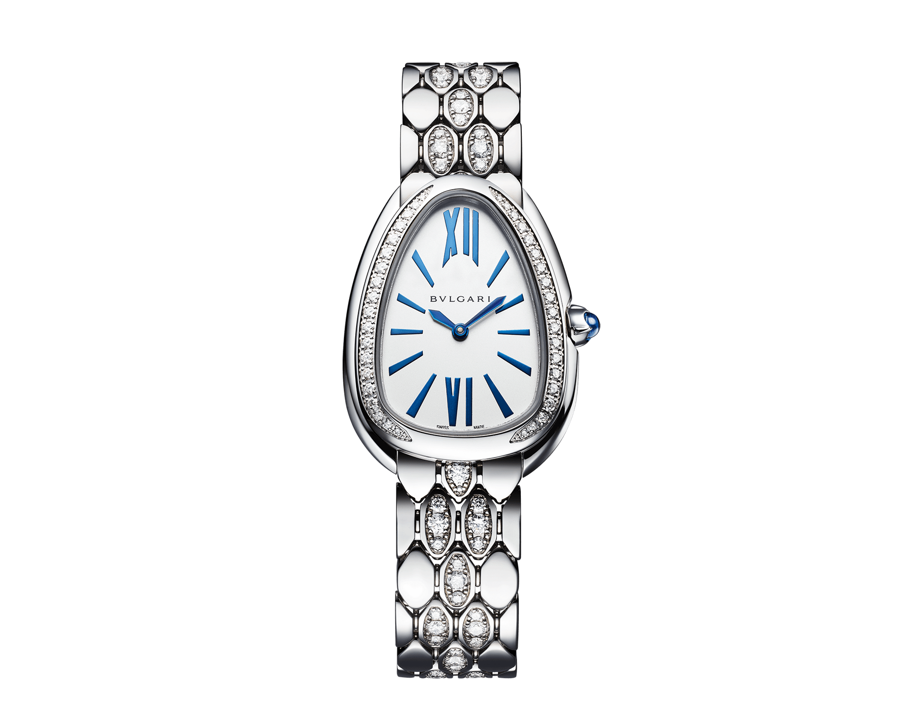 Serpenti Seduttori watch with 18 kt white gold case and bracelet both set with diamonds, and silver opaline dial 103276 image 1
