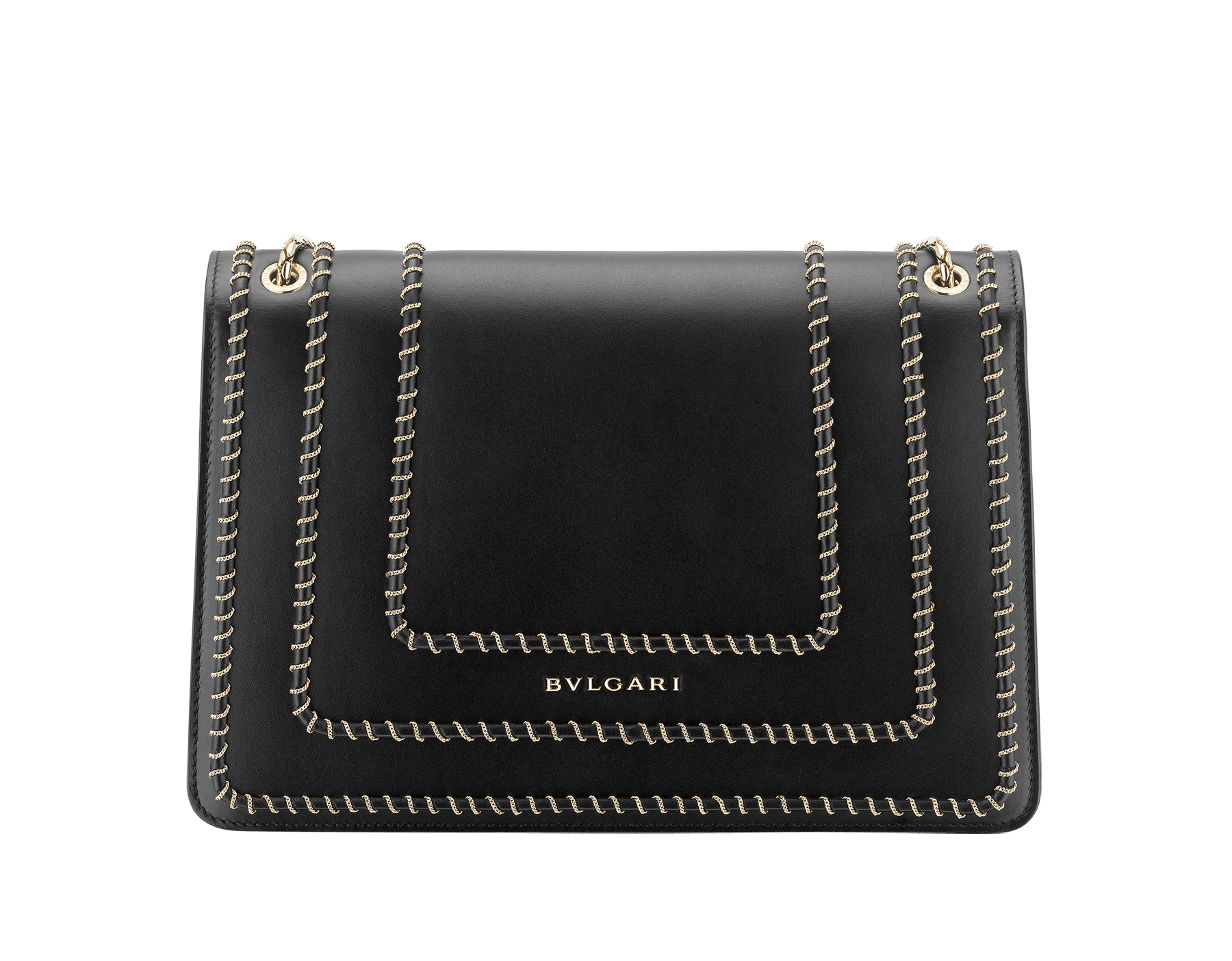 """Serpenti Forever"" shoulder bag in black calf leather, featuring a Woven Chain motif. Iconic snakehead closure in light gold plated brass enriched with black enamel and black onyx eyes 521-WC image 3"
