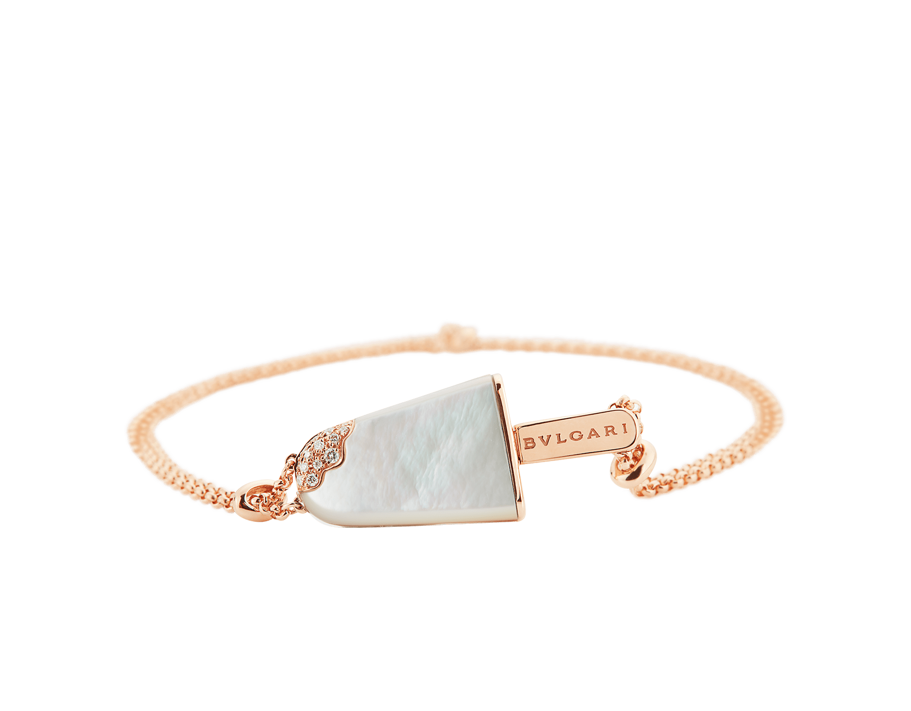 BVLGARI BVLGARI Gelati 18 kt rose gold soft bracelet set with mother-of-pearl and pavé diamonds BR858011 image 3