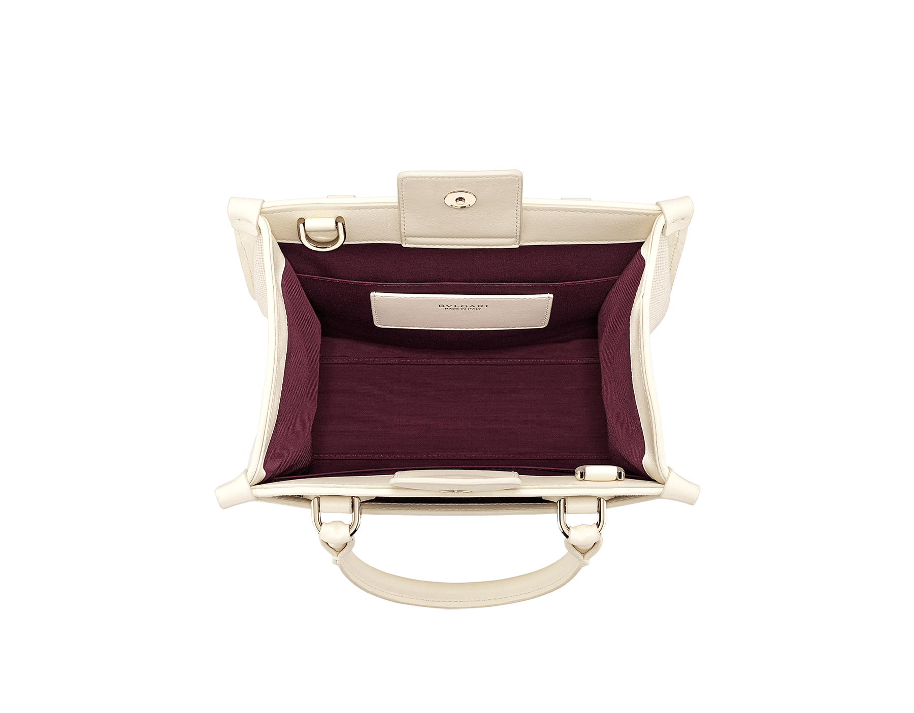 """""""Bvlgari Logo"""" small tote bag in Ivory Opal white canvas, with Beet Amethyst purple grosgrain inner lining. Bvlgari logo featured with light gold-plated brass chain inserts on the Ivory Opal white calf leather. BVL-1159-CC image 4"""