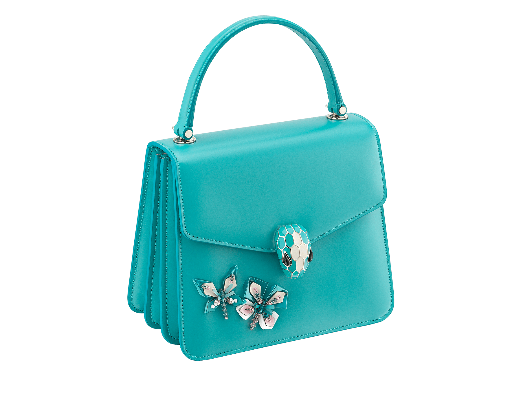 """""""Serpenti Forever """" crossbody bag in arctic jade calf leather with two arctic jade butterflies embroidered. Iconic snakehead closure in light gold plated brass enriched with arctic jade and white agate enamel and black onyx eyes. 289249 image 2"""