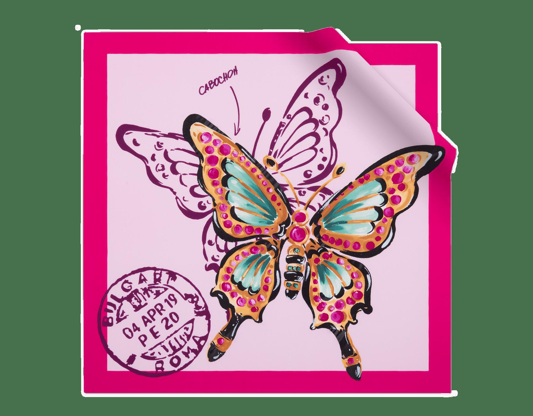 Foulard Butterfly couleur Rosa di Francia en twill de soie fin. 243926 image 1