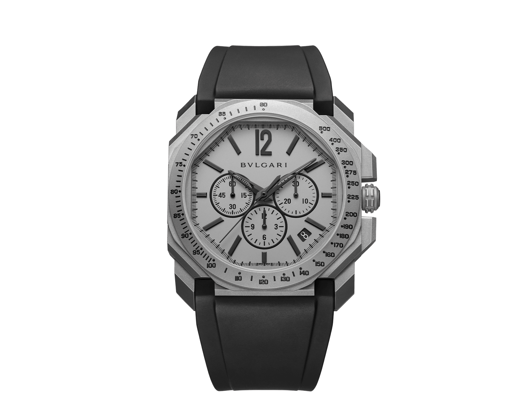 Octo L'Originale watch with mechanical manufacture movement, integrated high-frequency chronograph (5Hz), column wheel mechanism, silicon escapement, automatic winding and date, titanium case and dial, and black rubber bracelet 102859 image 1