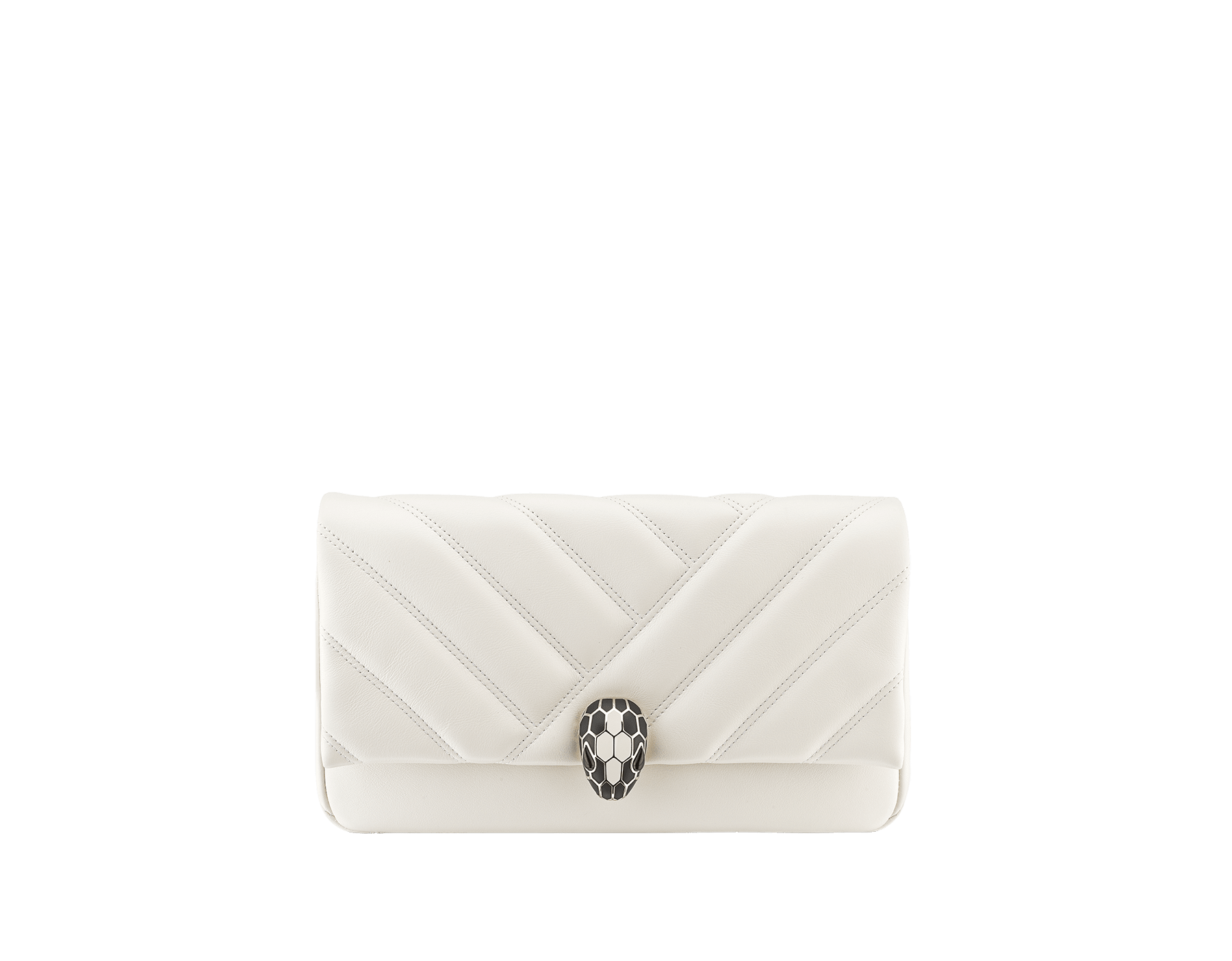 Serpenti Cabochon clutch bag in soft matelassé white calf leather, with a graphic motif. Brass light gold plated tempting snake head closure in black and white enamel and black onyx eyes. 289302 image 1
