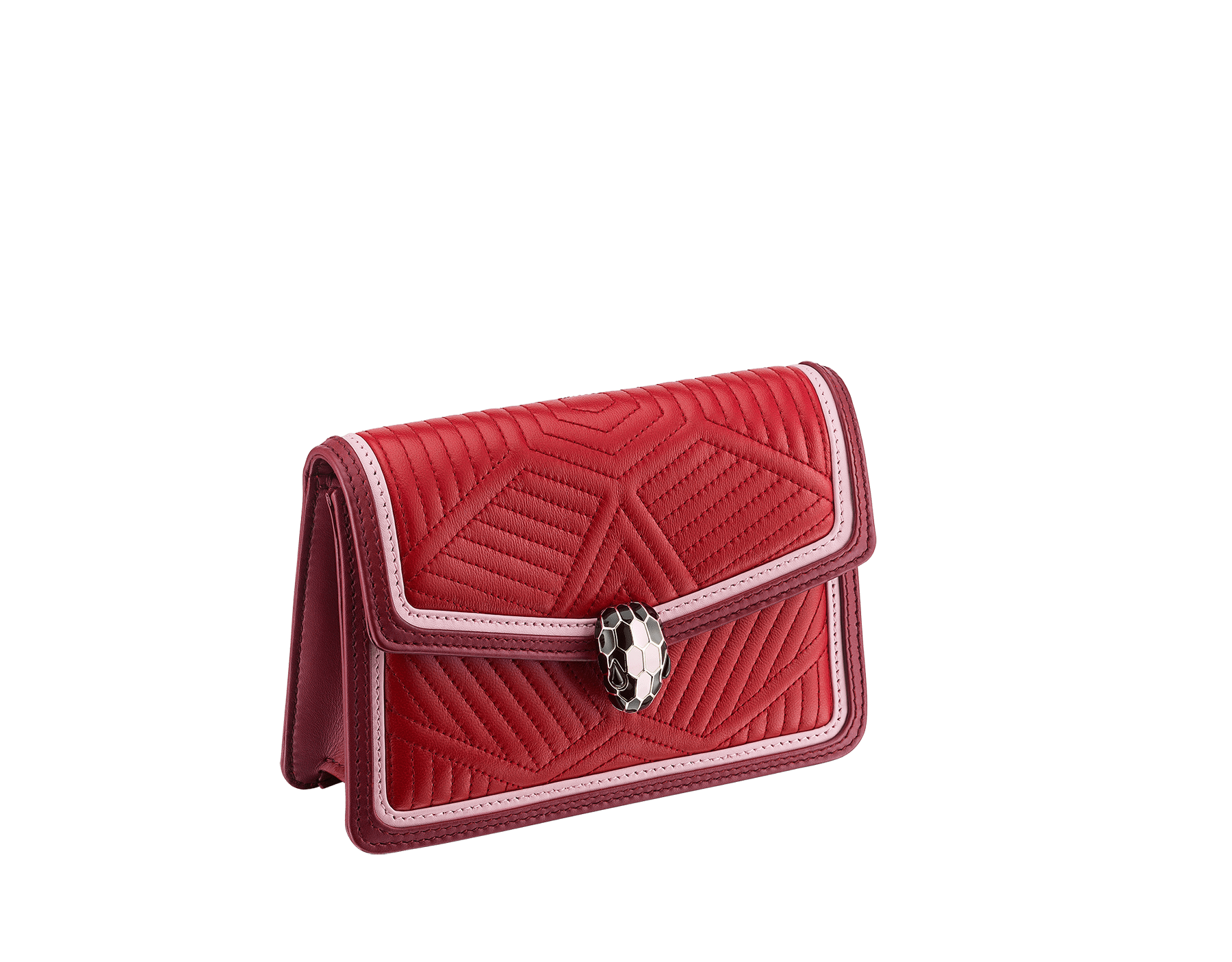 """""""Serpenti Diamond Blast"""" crossbody micro bag in ruby red quilted nappa leather body and Roman garnet calf leather frames. Iconic snakehead closure in light gold plated brass enriched with black and rosa di francia enamel and black onyx eyes. 288845 image 2"""
