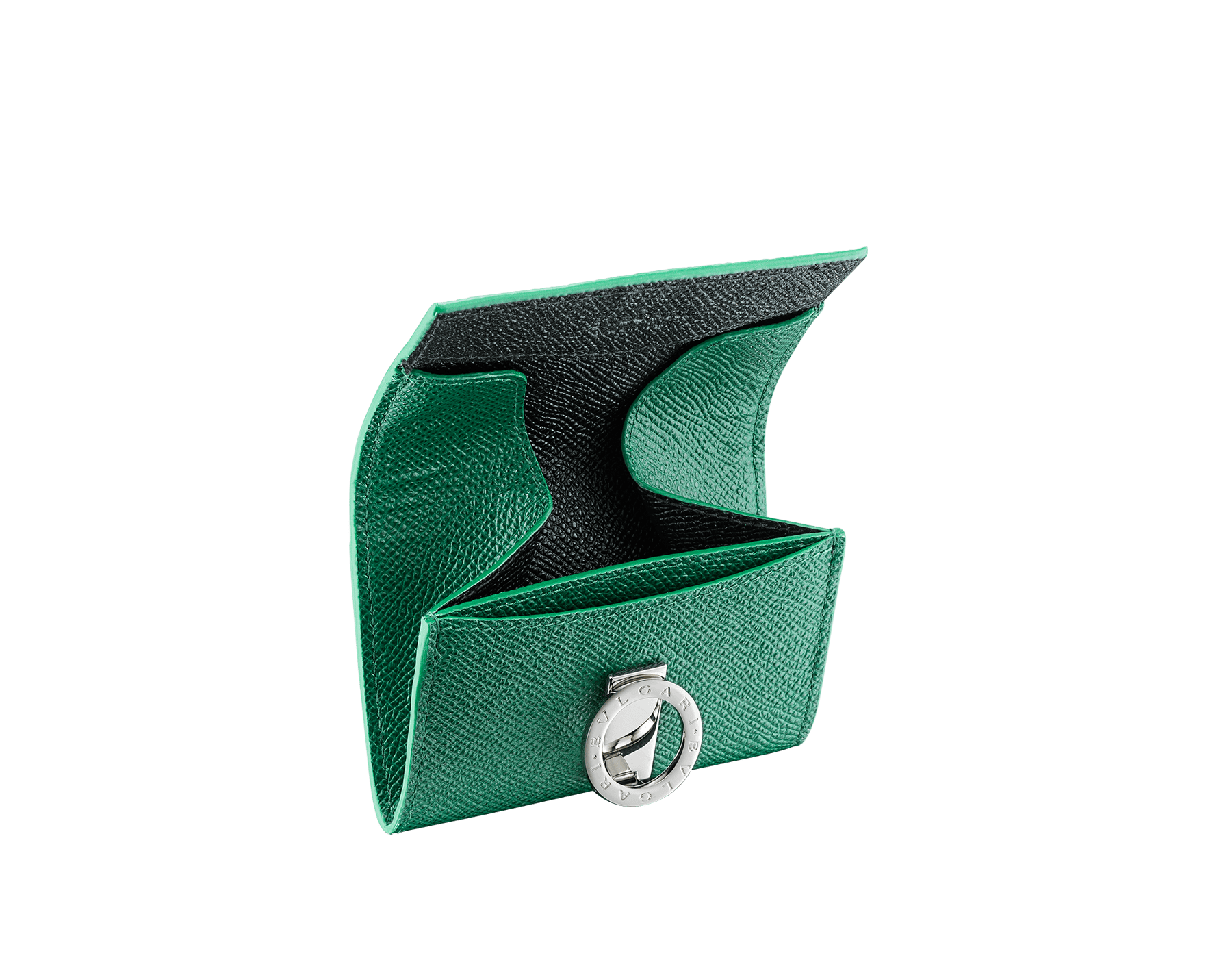 """""""BVLGARI BVLGARI"""" Geldbörse aus smaragdgrünem und schwarzem genarbten Kalbsleder mit einem Futter aus schwarzem Nappaleder. Ikonische Verschlussklammer mit Logo aus palladiumbeschichtetem Messing. BCM-WLT-S-RECTa image 2"""